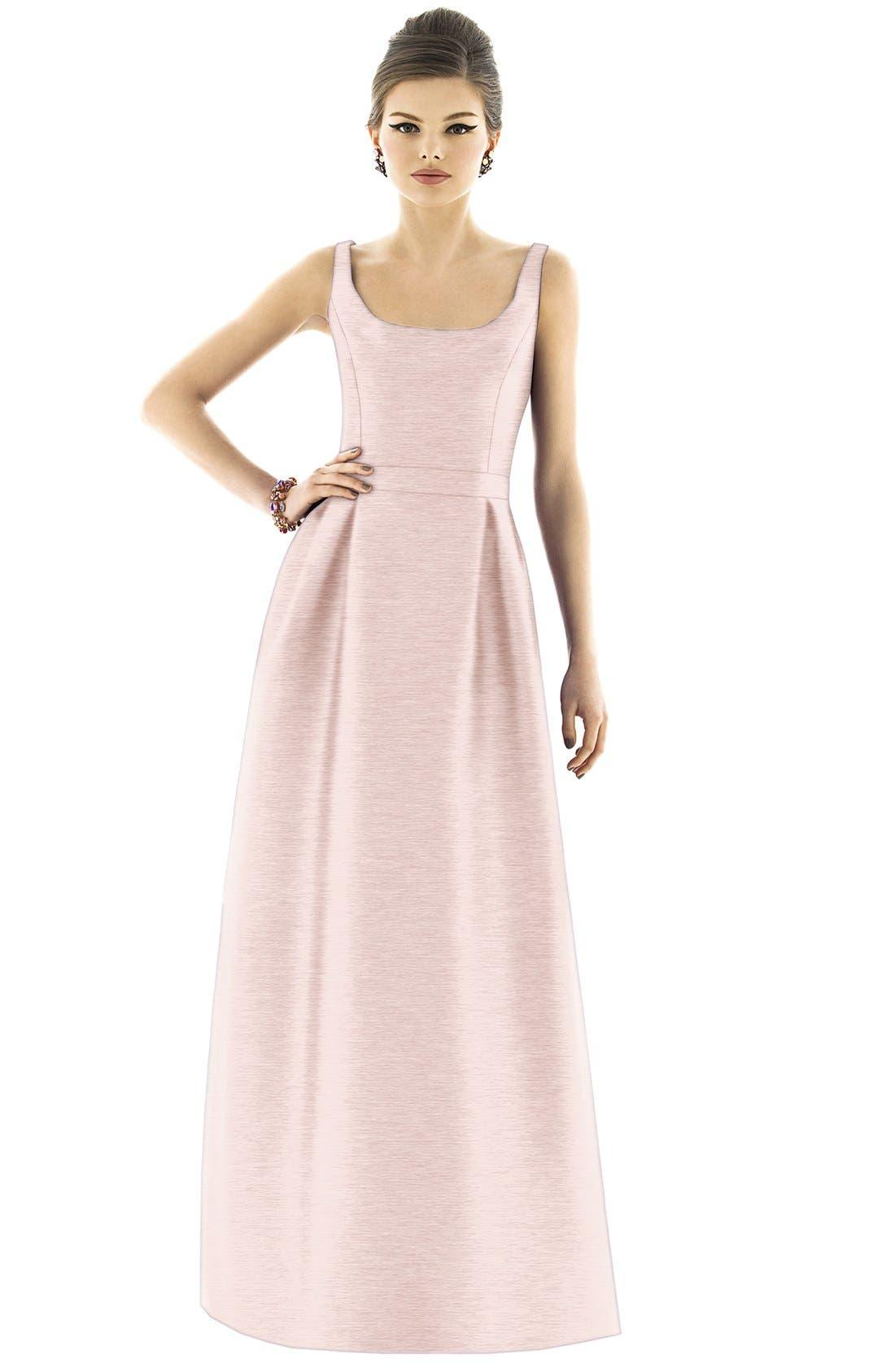 Scoop Neck Dupioni Full Length Dress,                             Alternate thumbnail 20, color,