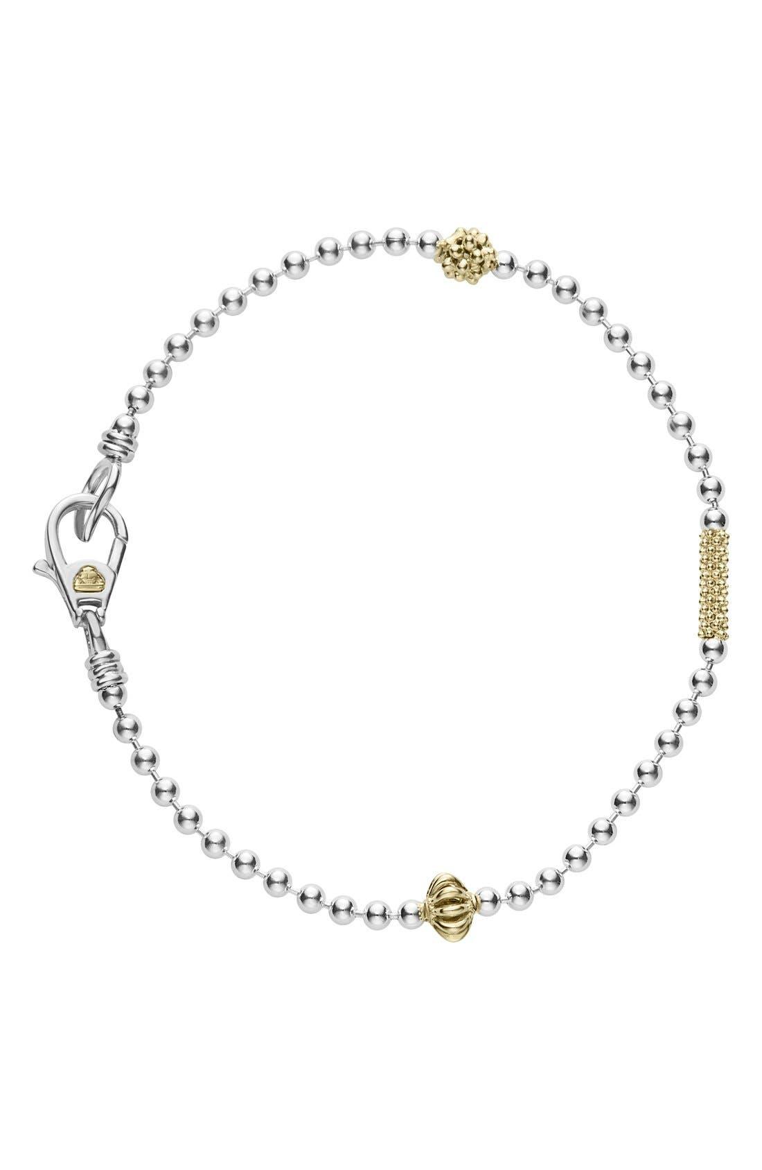 Caviar Icon Single Strand Bracelet,                             Main thumbnail 1, color,                             SILVER
