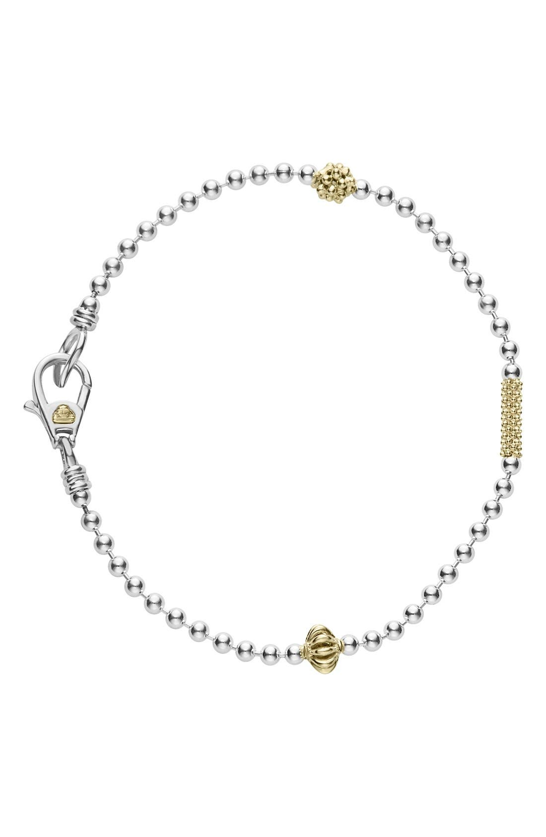 Caviar Icon Single Strand Bracelet,                         Main,                         color, SILVER