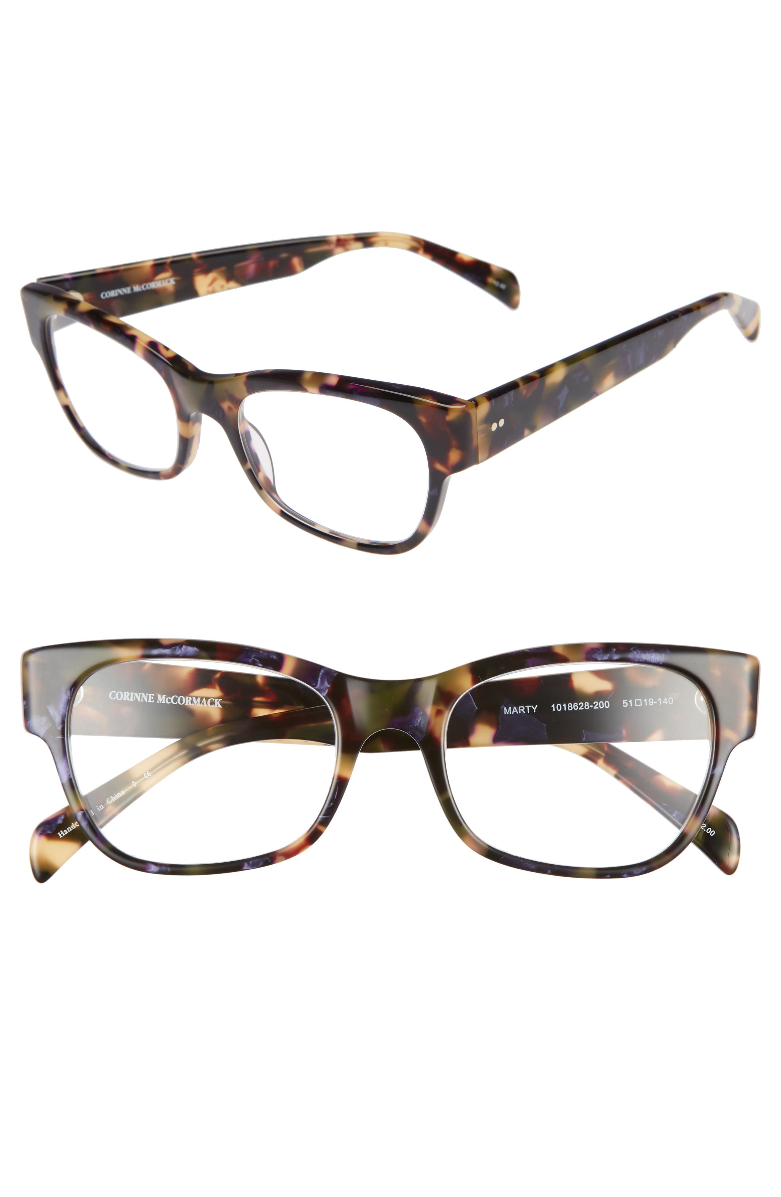 CORINNE MCCORMACK Marty 51Mm Reading Glasses in Metallic Purple Tortoise