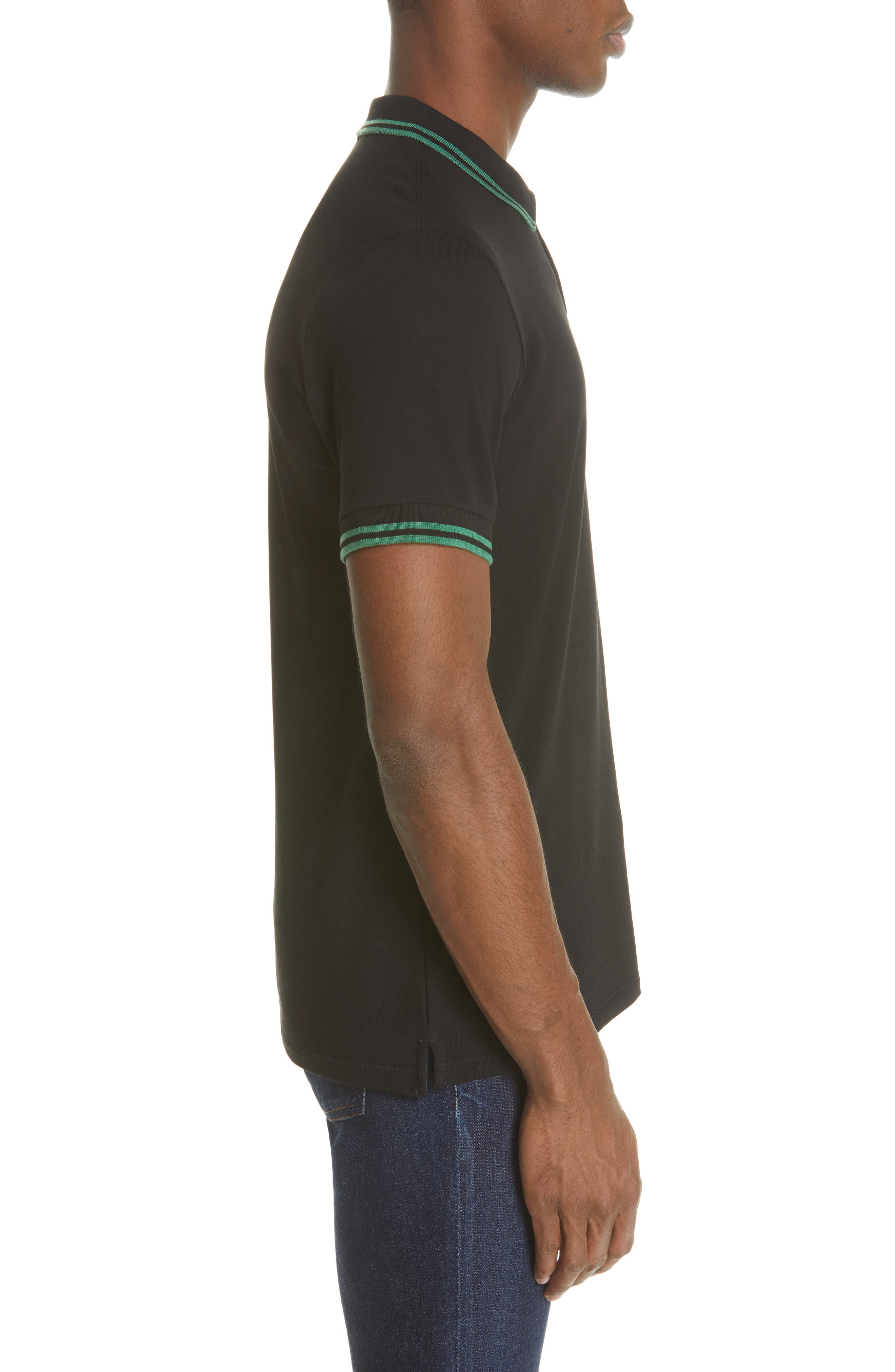PS PAUL SMITH,                             Piped Collar Polo,                             Alternate thumbnail 3, color,                             BLACK