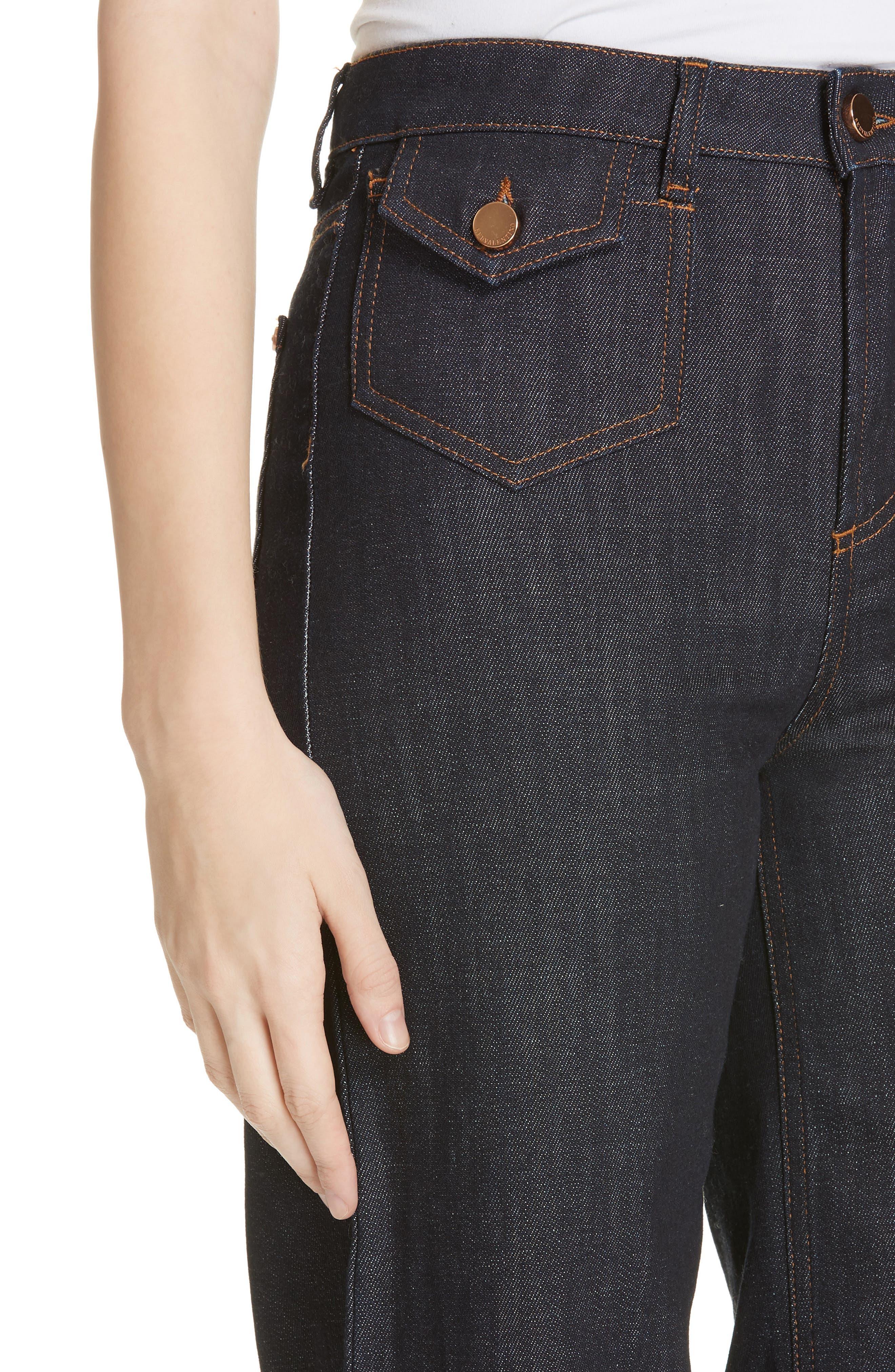 Scallop Hem Crop Wide Leg Jeans,                             Alternate thumbnail 4, color,                             BLUE DENIM