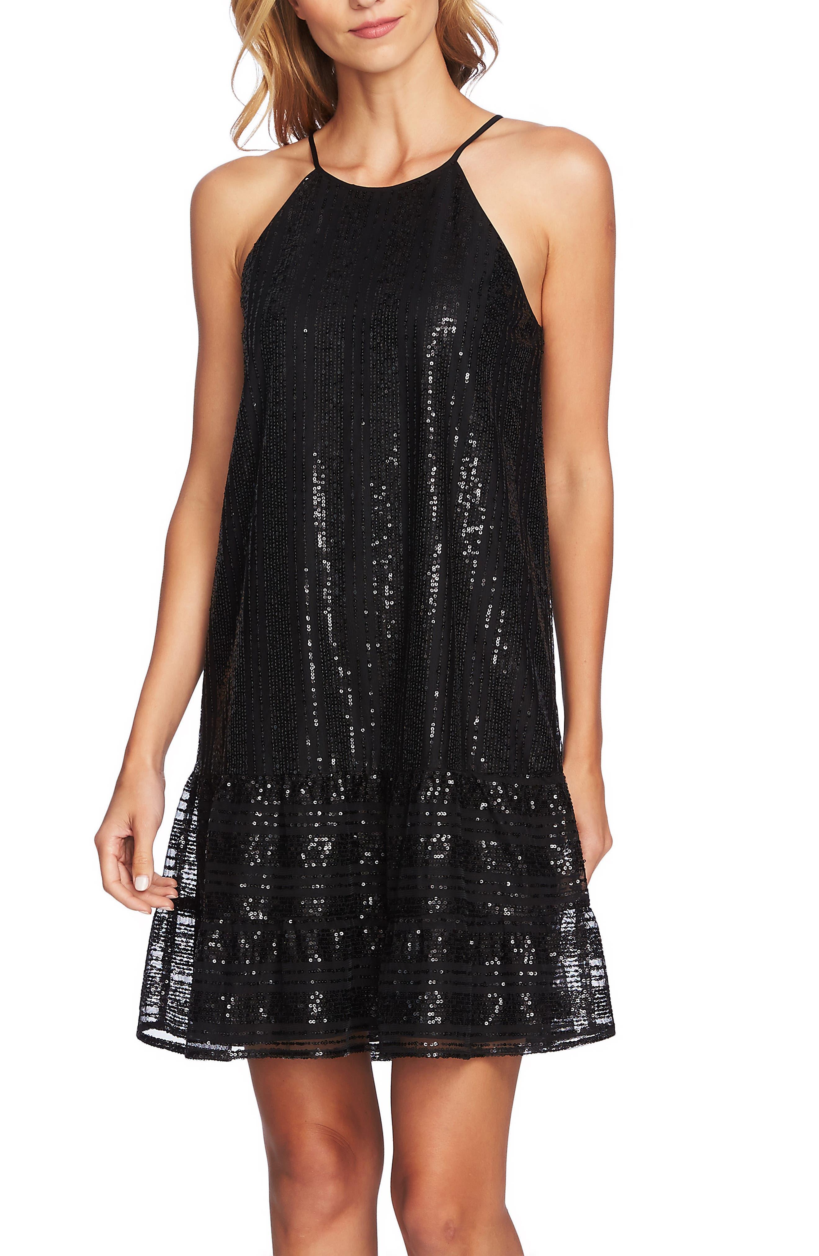 Sequin Ruffle Trim Dress,                             Alternate thumbnail 3, color,                             RICH BLACK