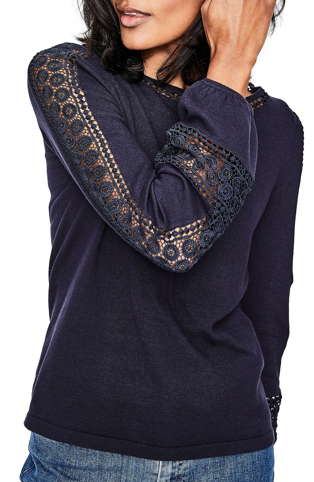Lace Inset Cotton Sweater,                             Main thumbnail 1, color,                             414