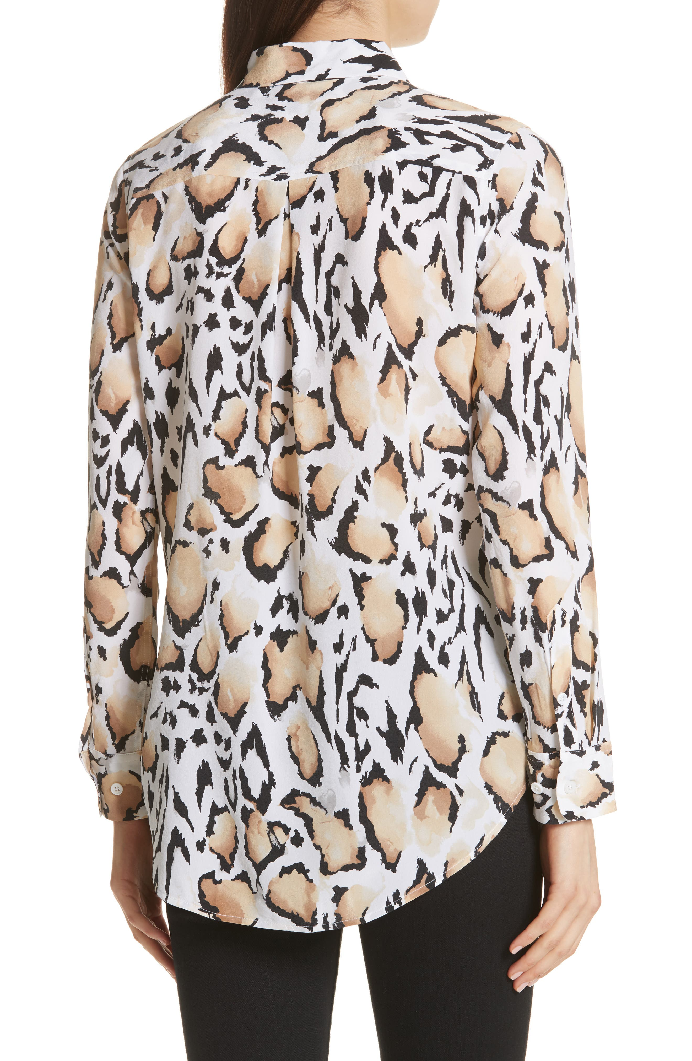 Essential Animal Print Silk Shirt,                             Alternate thumbnail 2, color,                             118