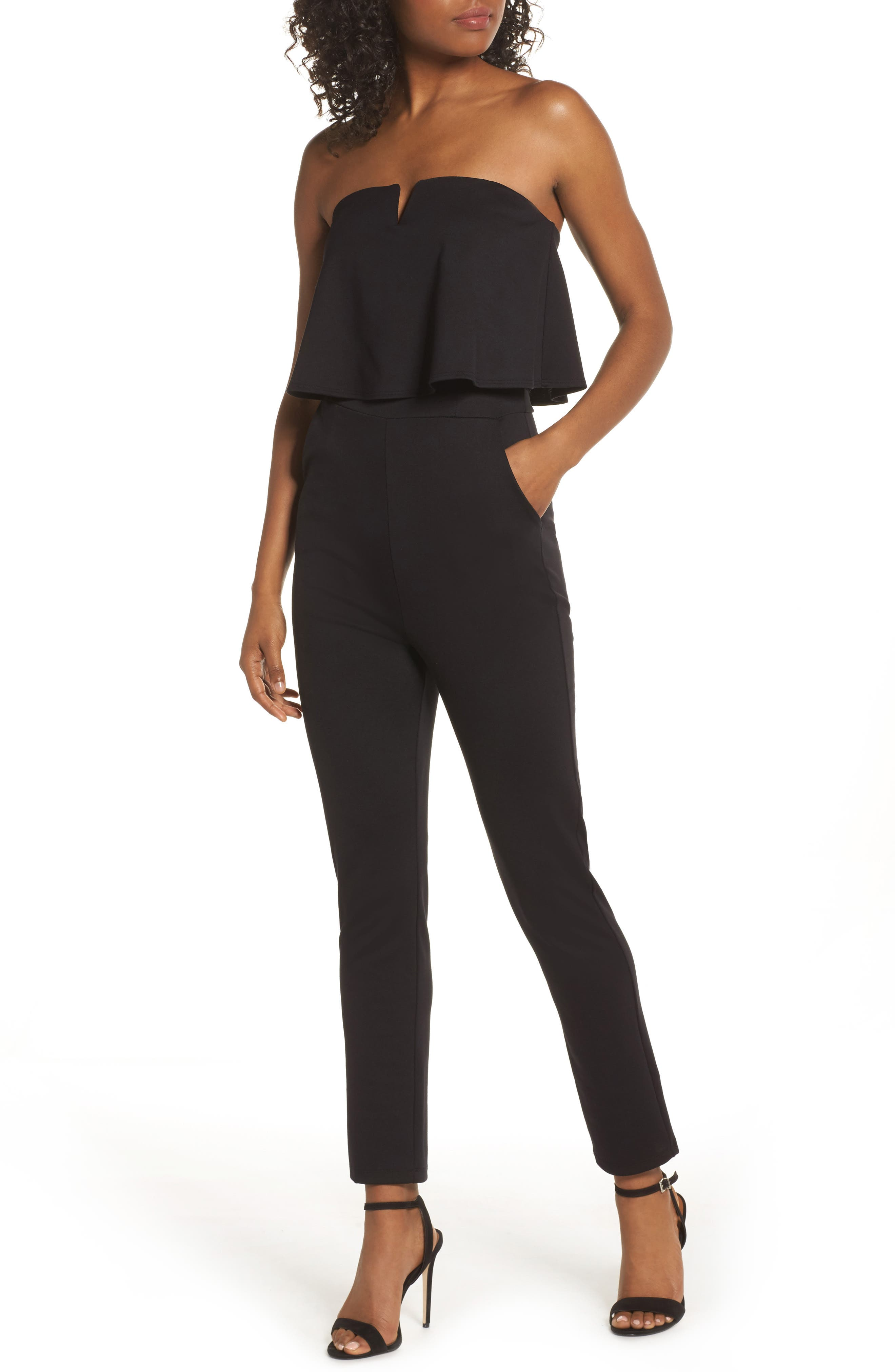 Strapless Ruffle Jumpsuit,                             Main thumbnail 1, color,                             BLACK