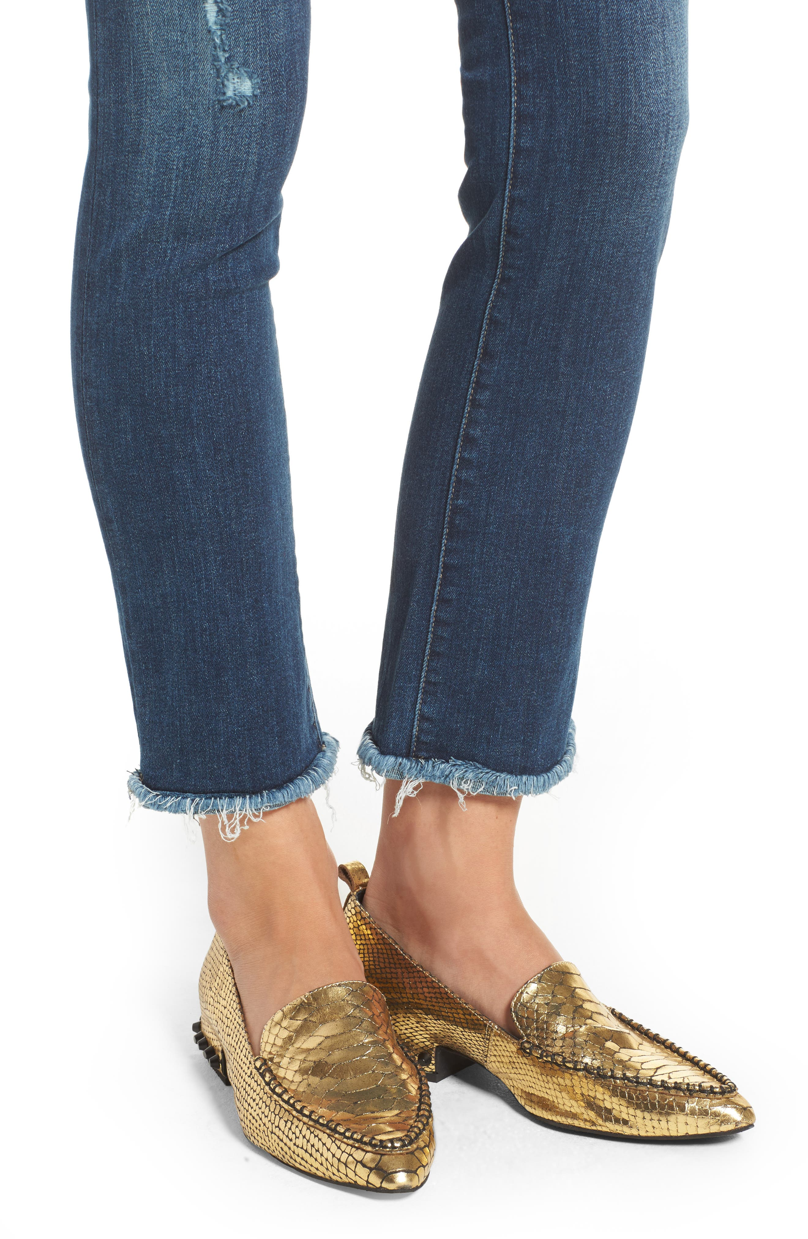Mara Ankle Straight Leg Jeans,                             Alternate thumbnail 4, color,                             RAVINE