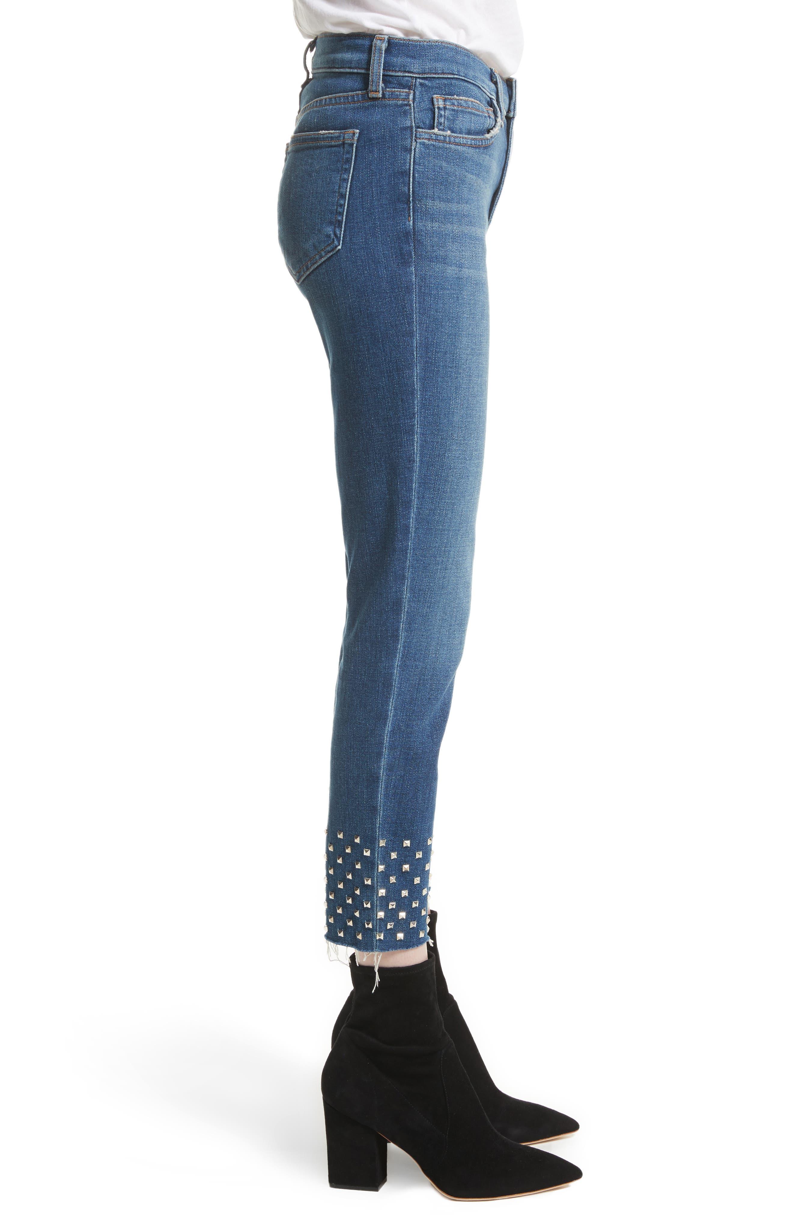 Anjelique Studded Ankle Skinny Jeans,                             Alternate thumbnail 3, color,                             400