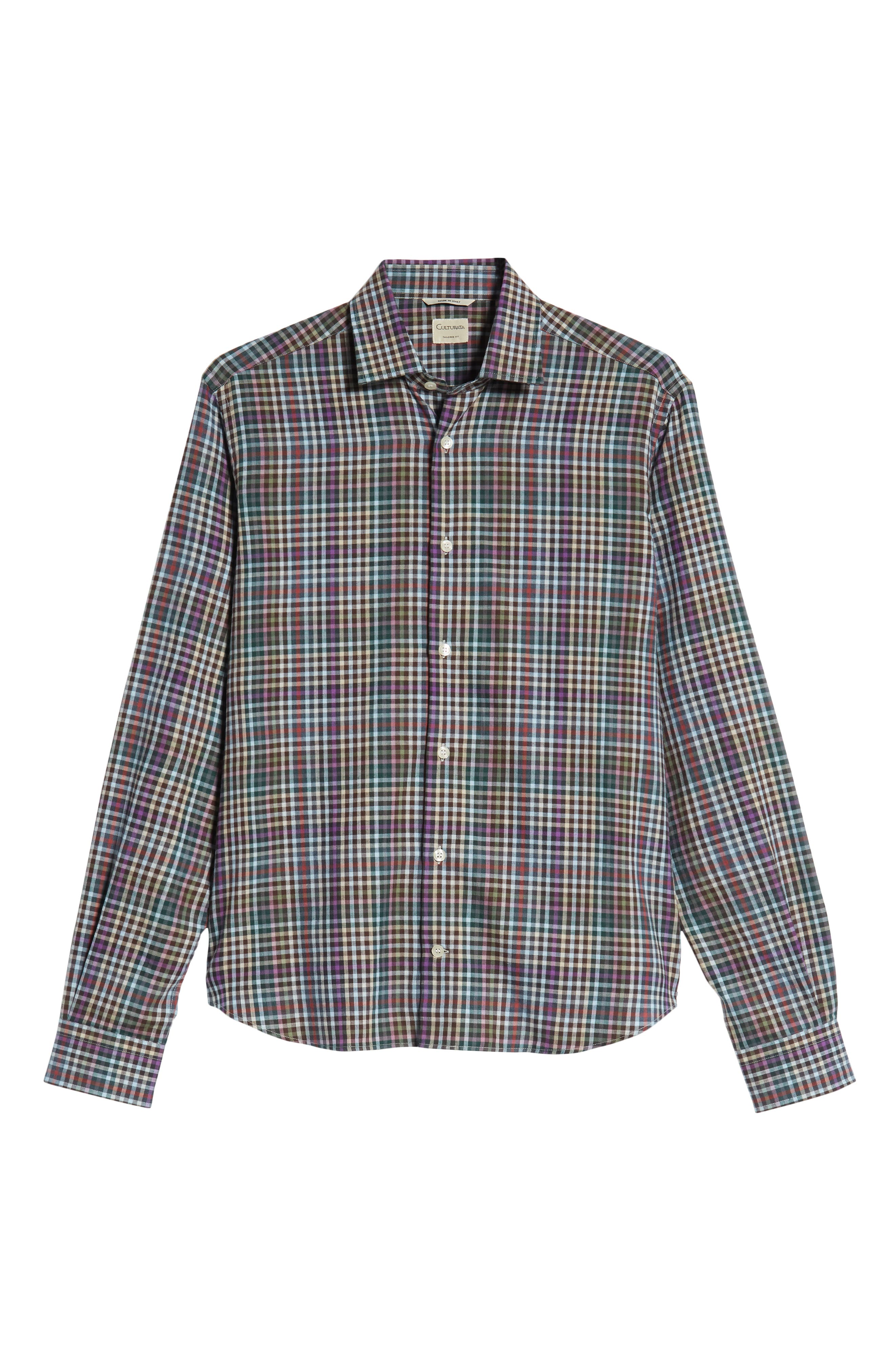 Tailored Fit Check Sport Shirt,                             Alternate thumbnail 5, color,                             020