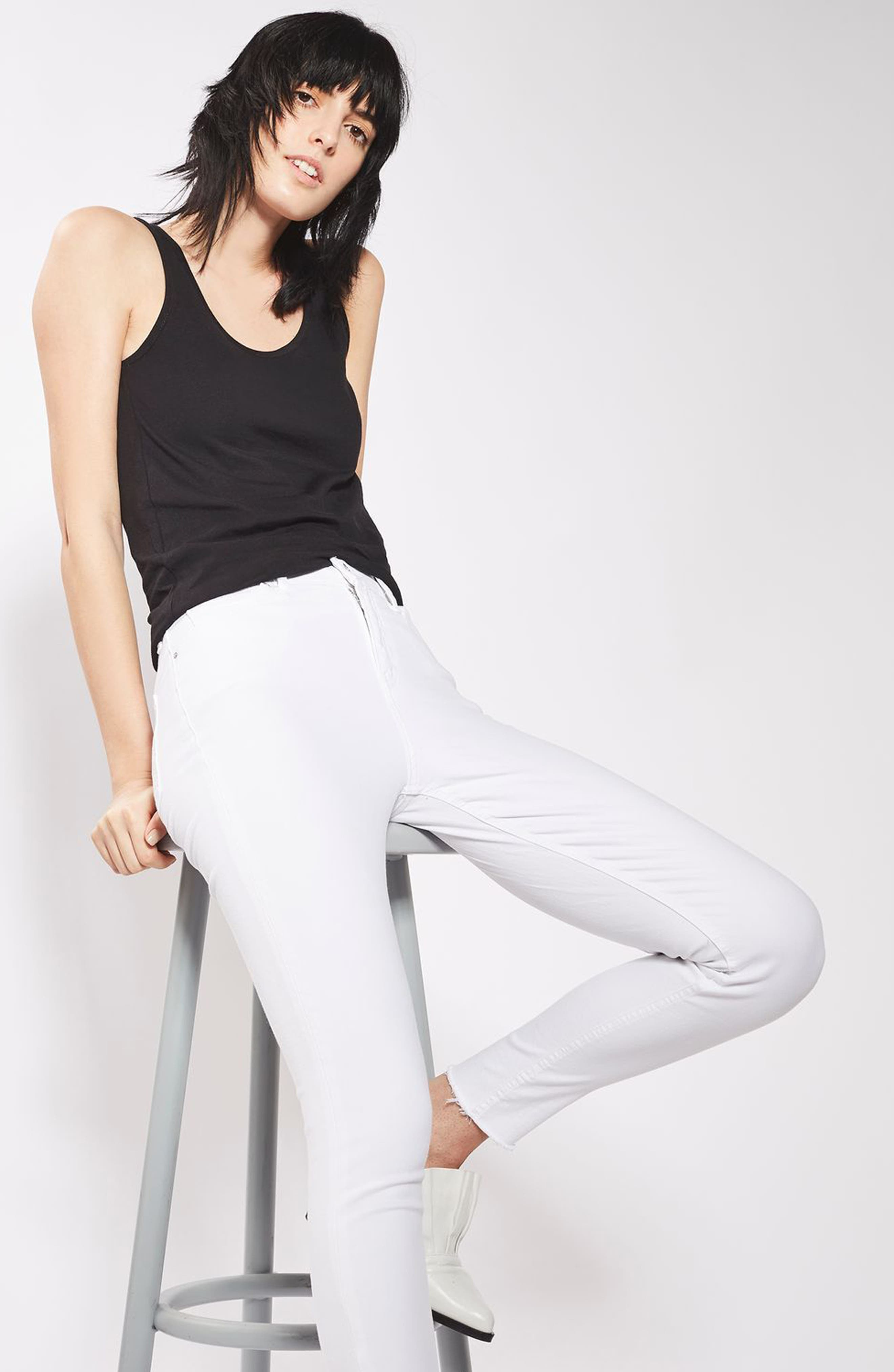 Jamie Raw Hem Skinny Jeans,                             Alternate thumbnail 4, color,                             100