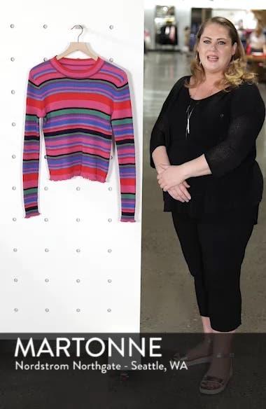 Ribbed Lettuce Edge Stripe Sweater, sales video thumbnail