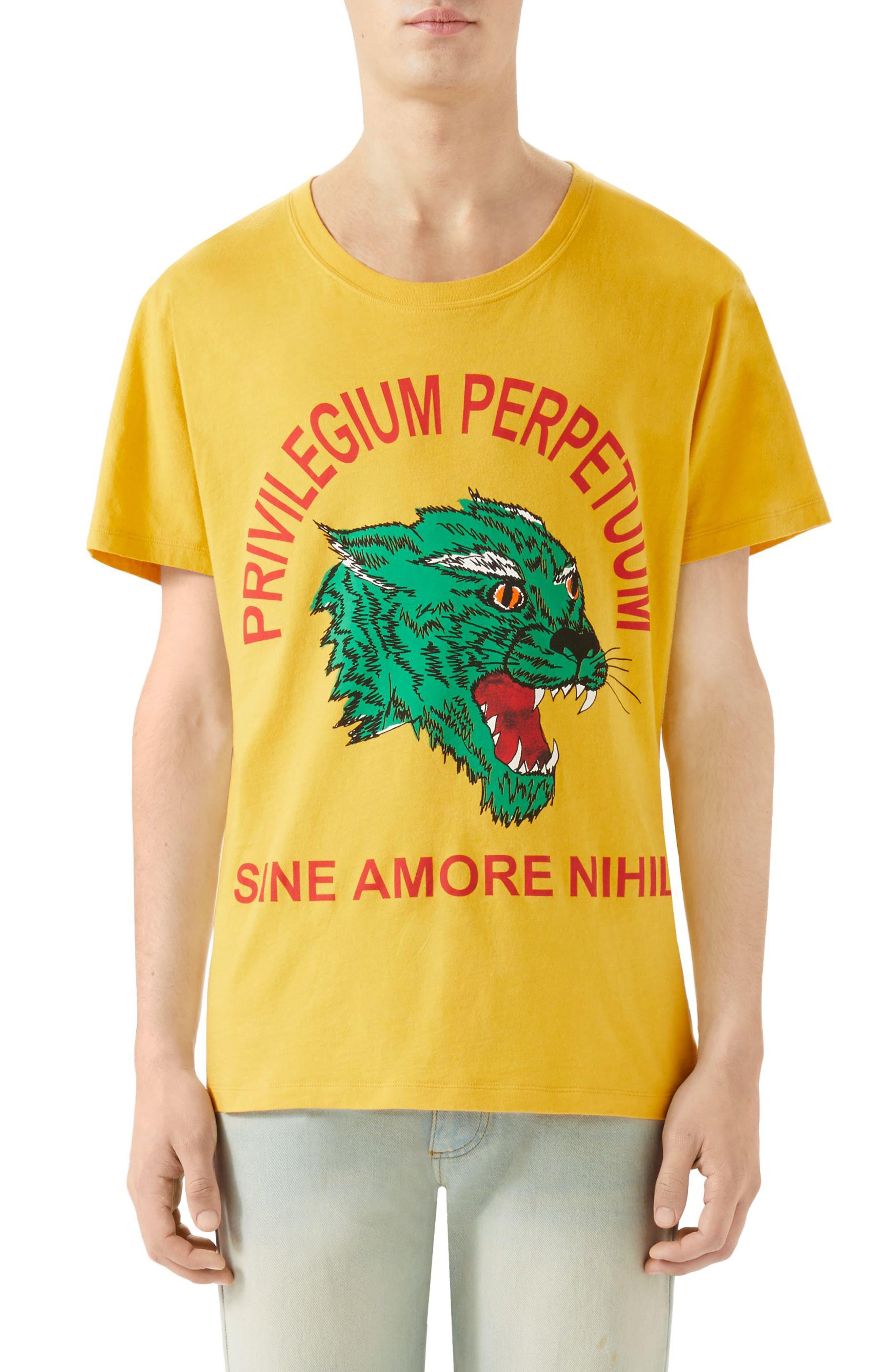 Animal Print T-Shirt,                             Main thumbnail 1, color,                             YELLOW