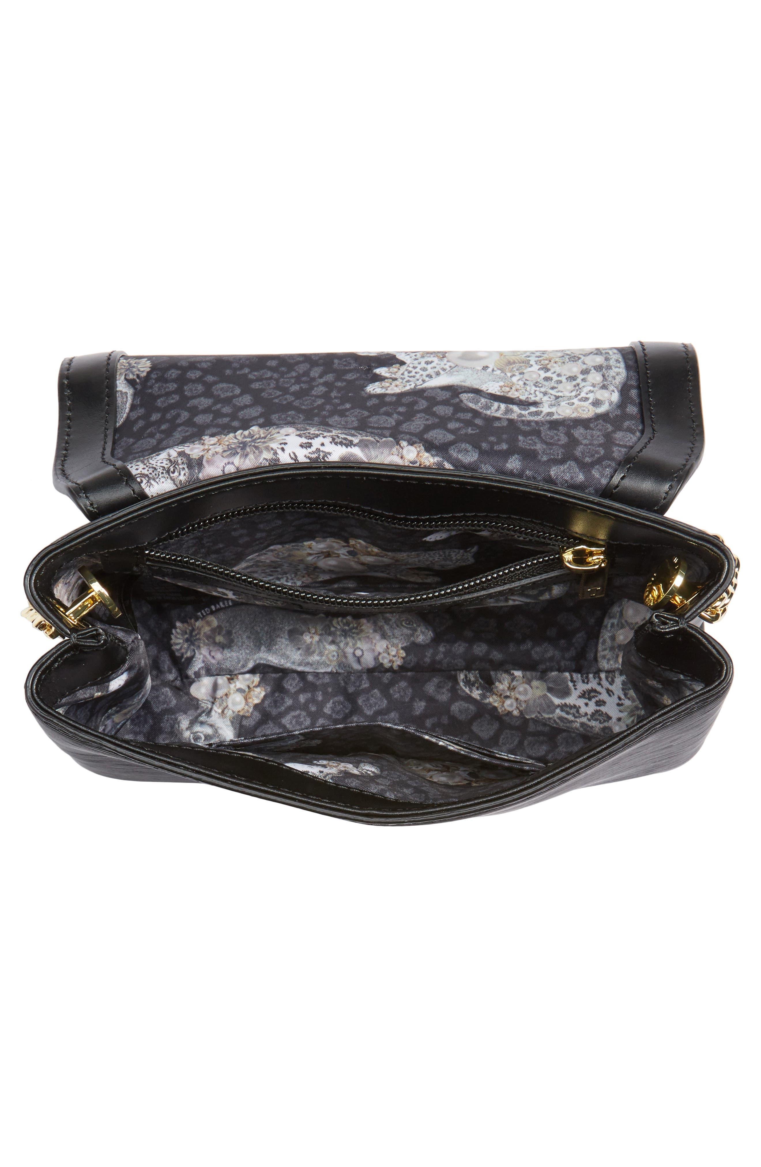 Leorr Bow Leather Crossbody Bag,                             Alternate thumbnail 4, color,                             001