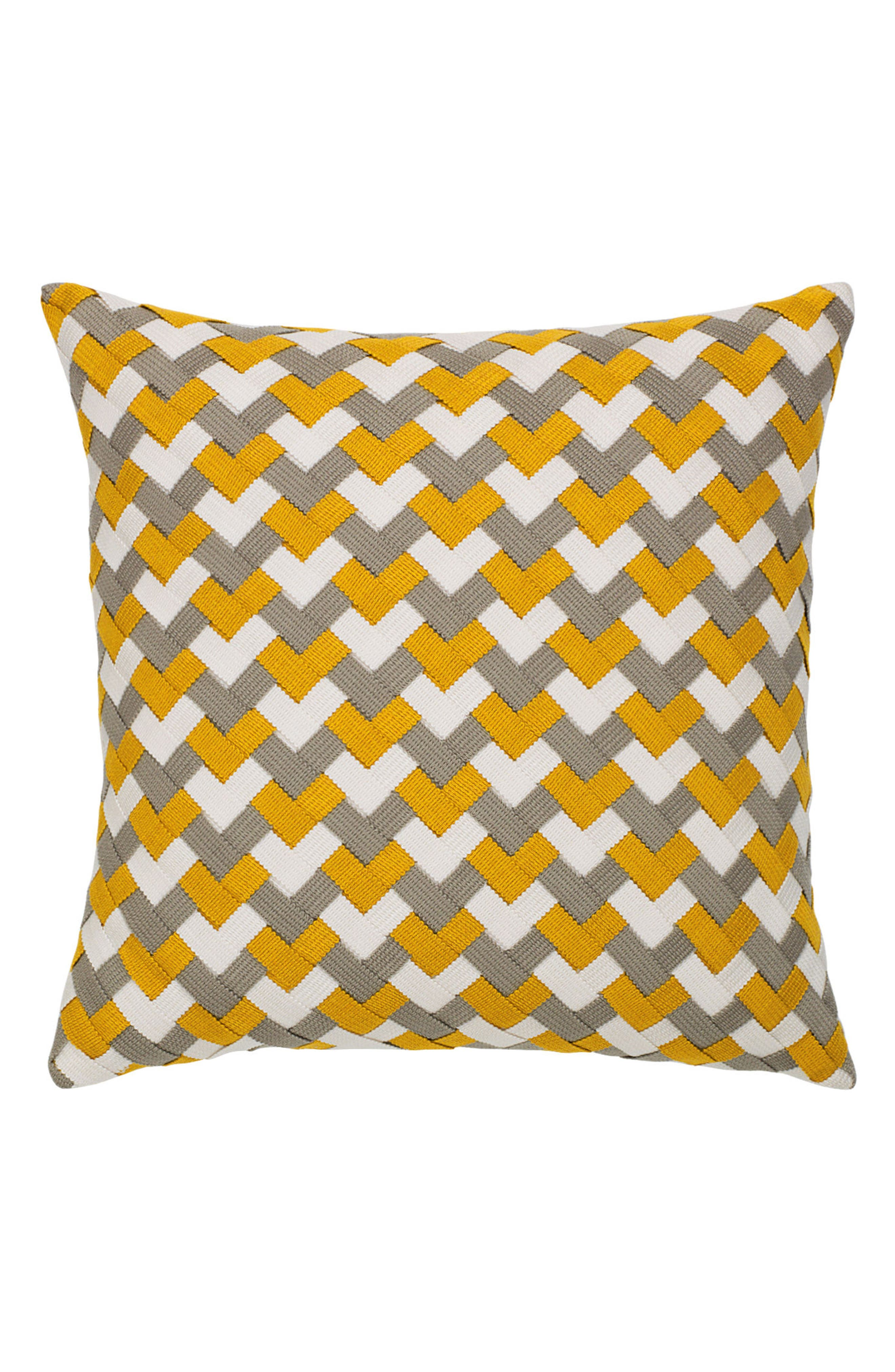 Metallic Basket Weave Indoor/Outdoor Accent Pillow,                             Main thumbnail 1, color,                             GOLD/ GREY