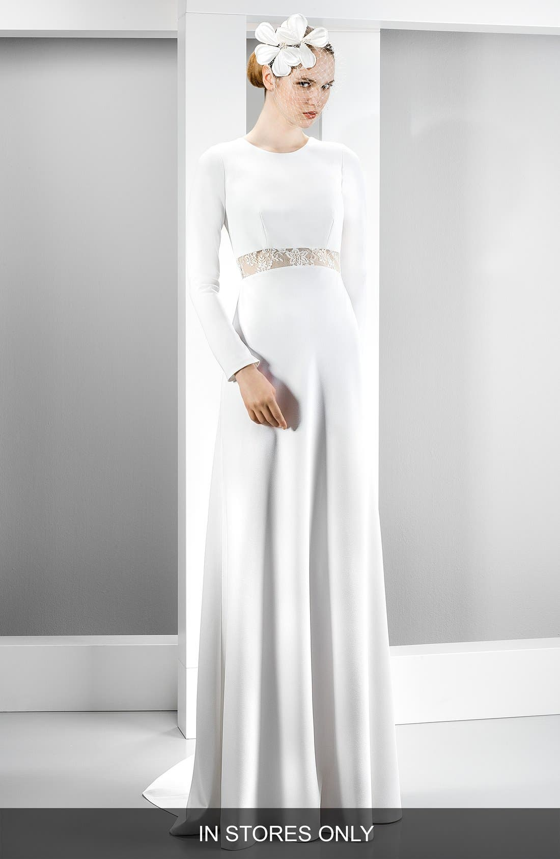 Illusion Lace Inset Long Sleeve Crepe Gown,                         Main,                         color, 900