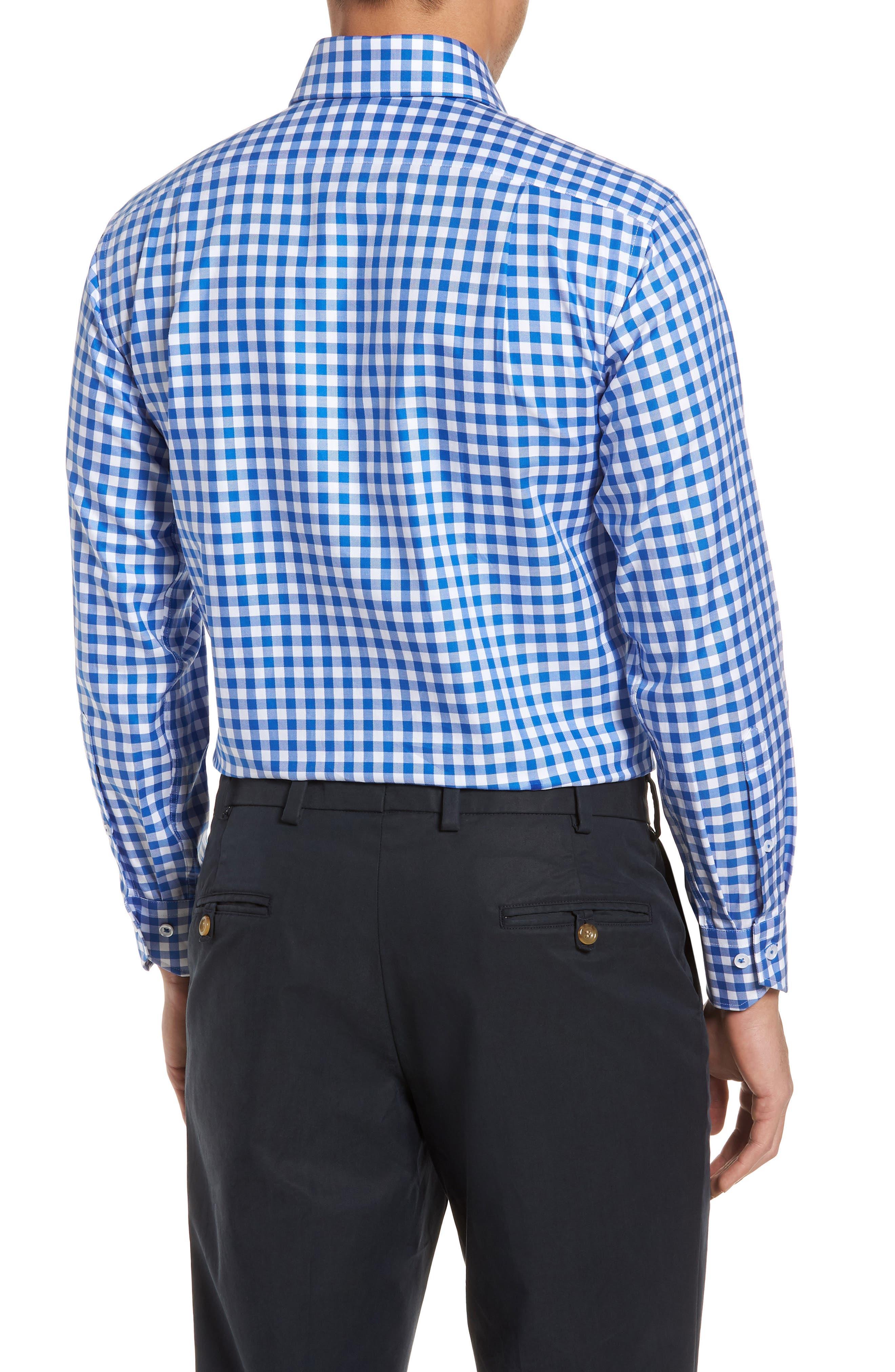 Trim Fit Gingham Dress Shirt,                             Alternate thumbnail 3, color,                             BLUE
