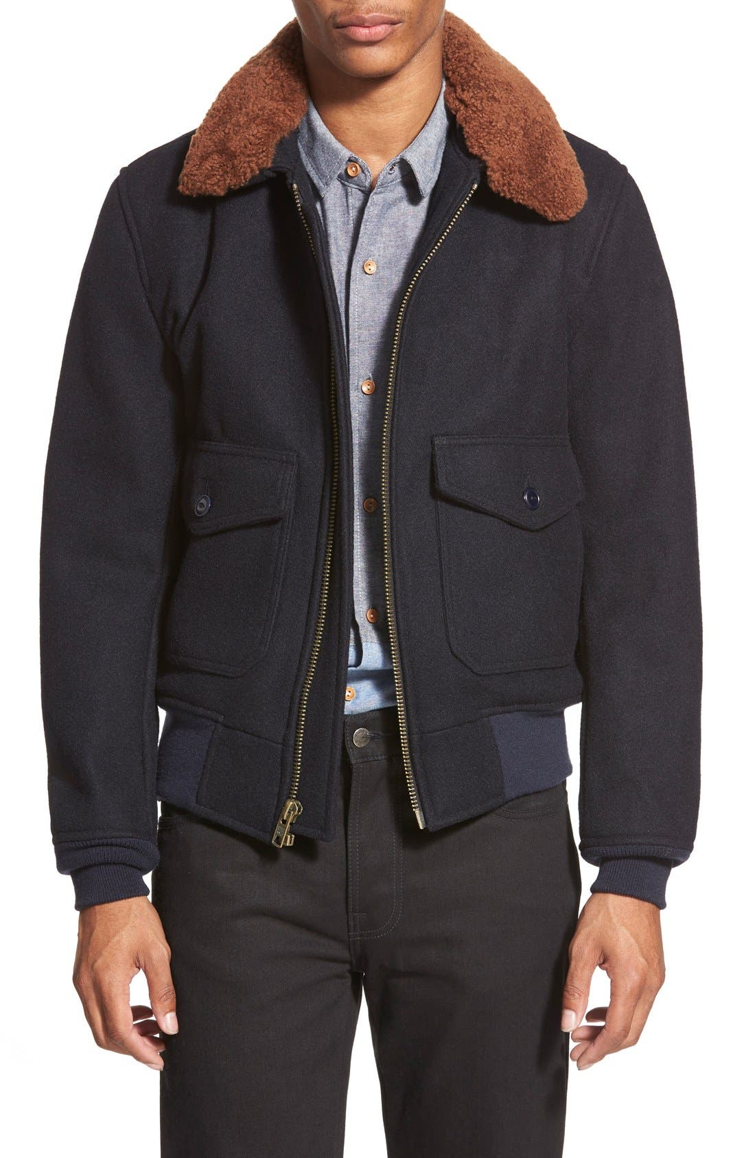 SchottNYC'G-1' Zip Front Bomber with Genuine Shearling Collar,                             Main thumbnail 1, color,                             410