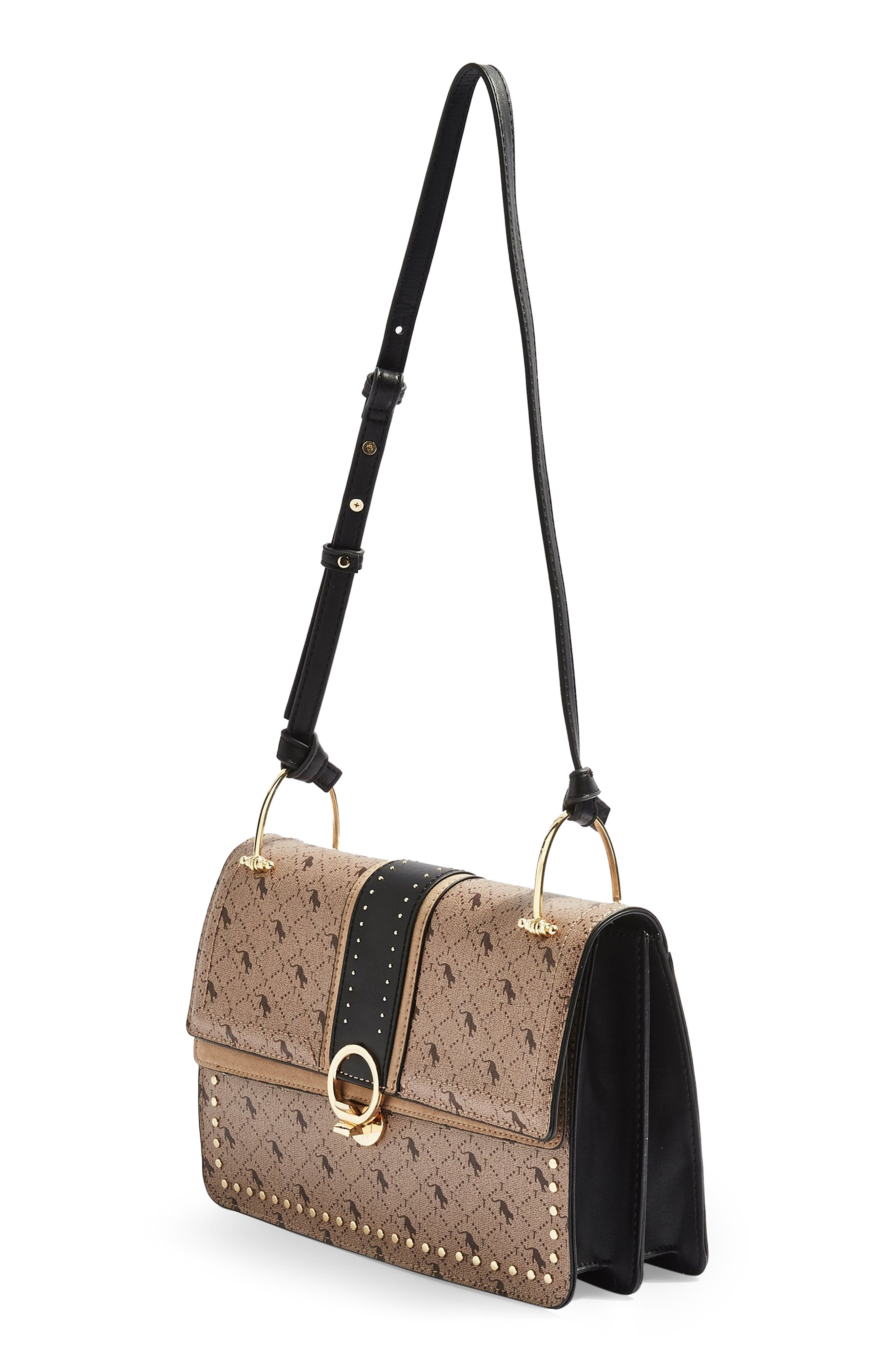 Madrid Studded Faux Leather Shoulder Bag,                             Alternate thumbnail 4, color,                             TAUPE MULTI