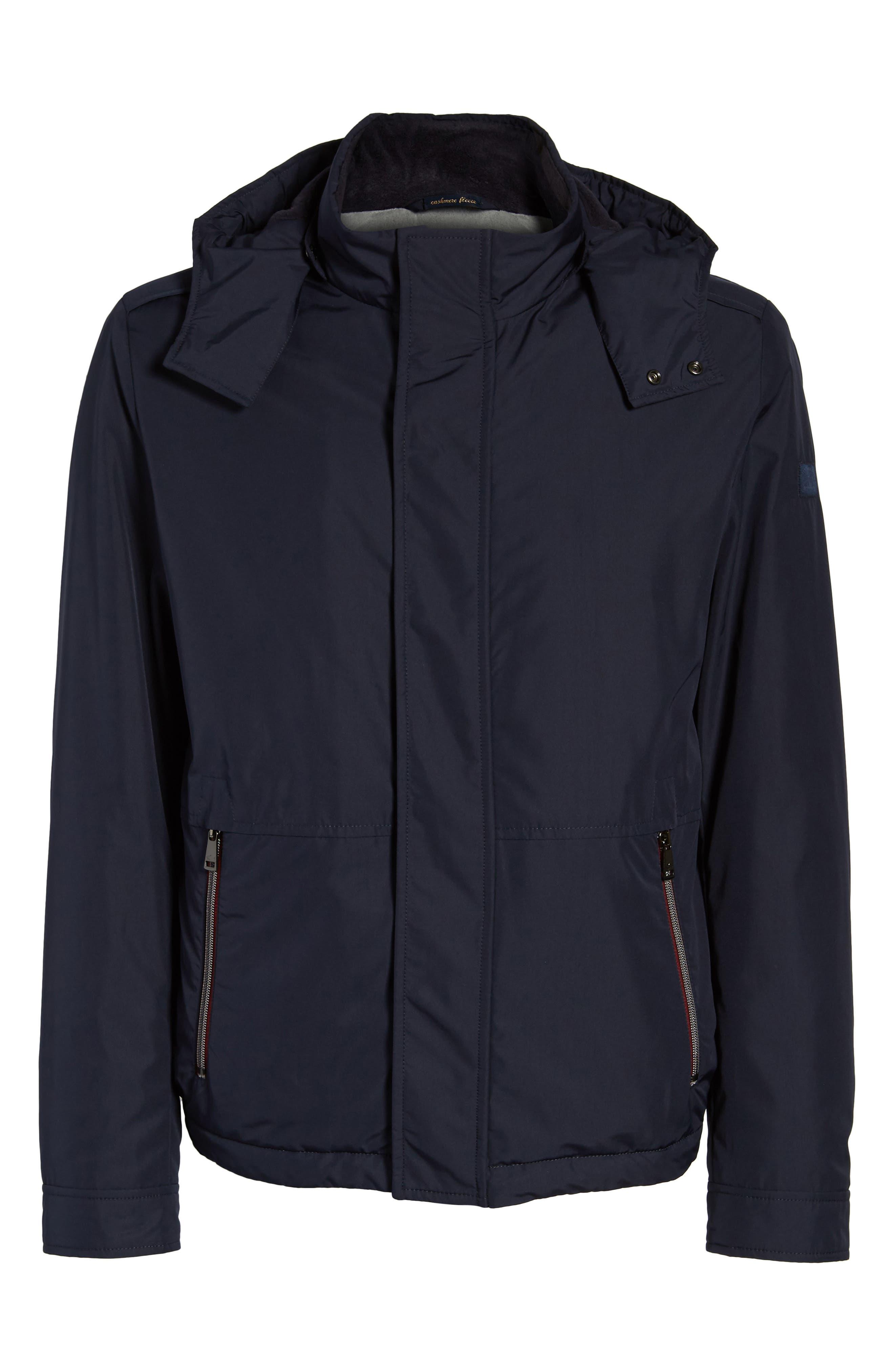 Paul&Shark Fleece Lined Hooded Jacket,                             Alternate thumbnail 5, color,                             400