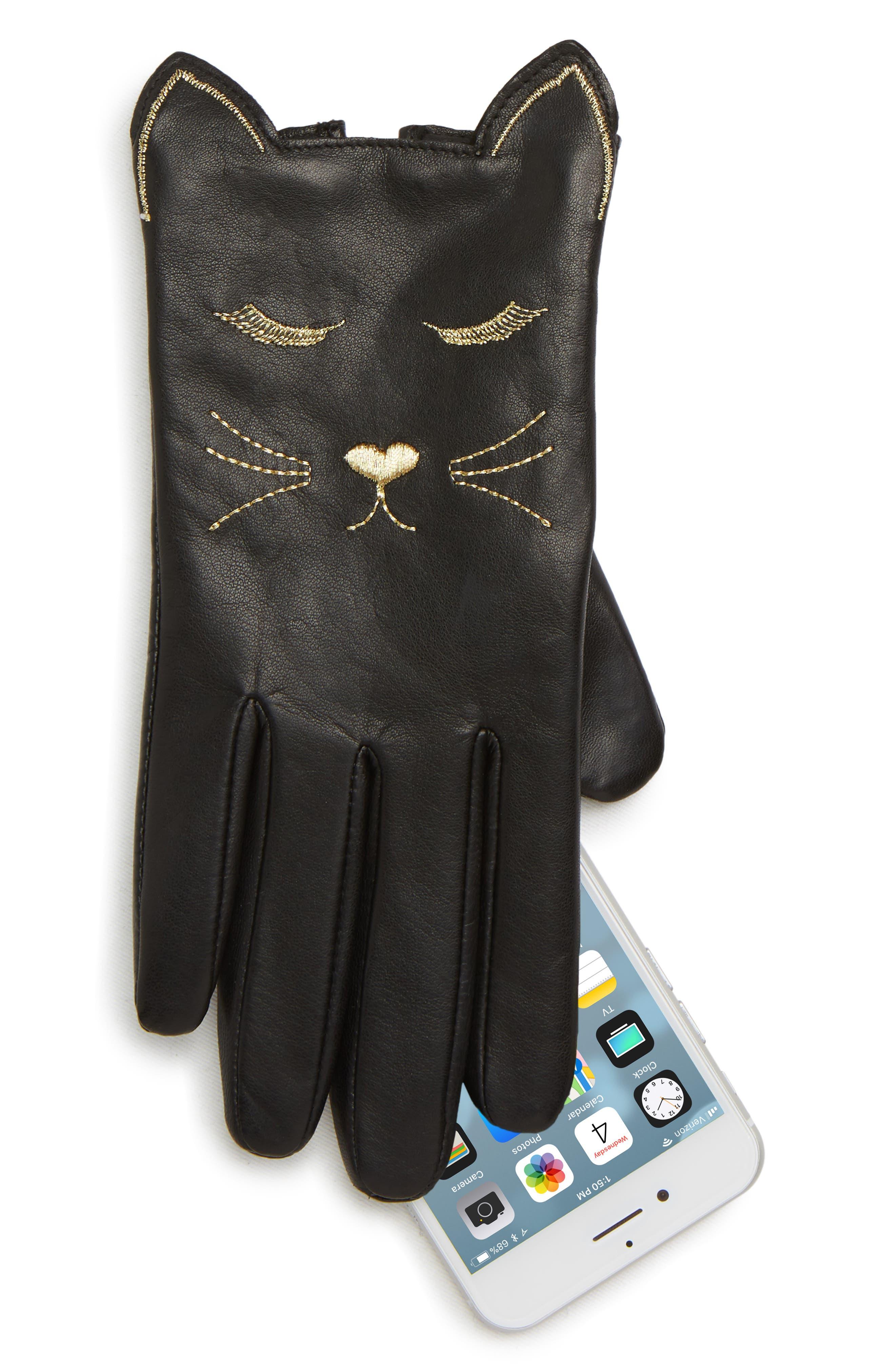 Cat Leather Touchscreen Gloves,                             Alternate thumbnail 2, color,                             BLACK