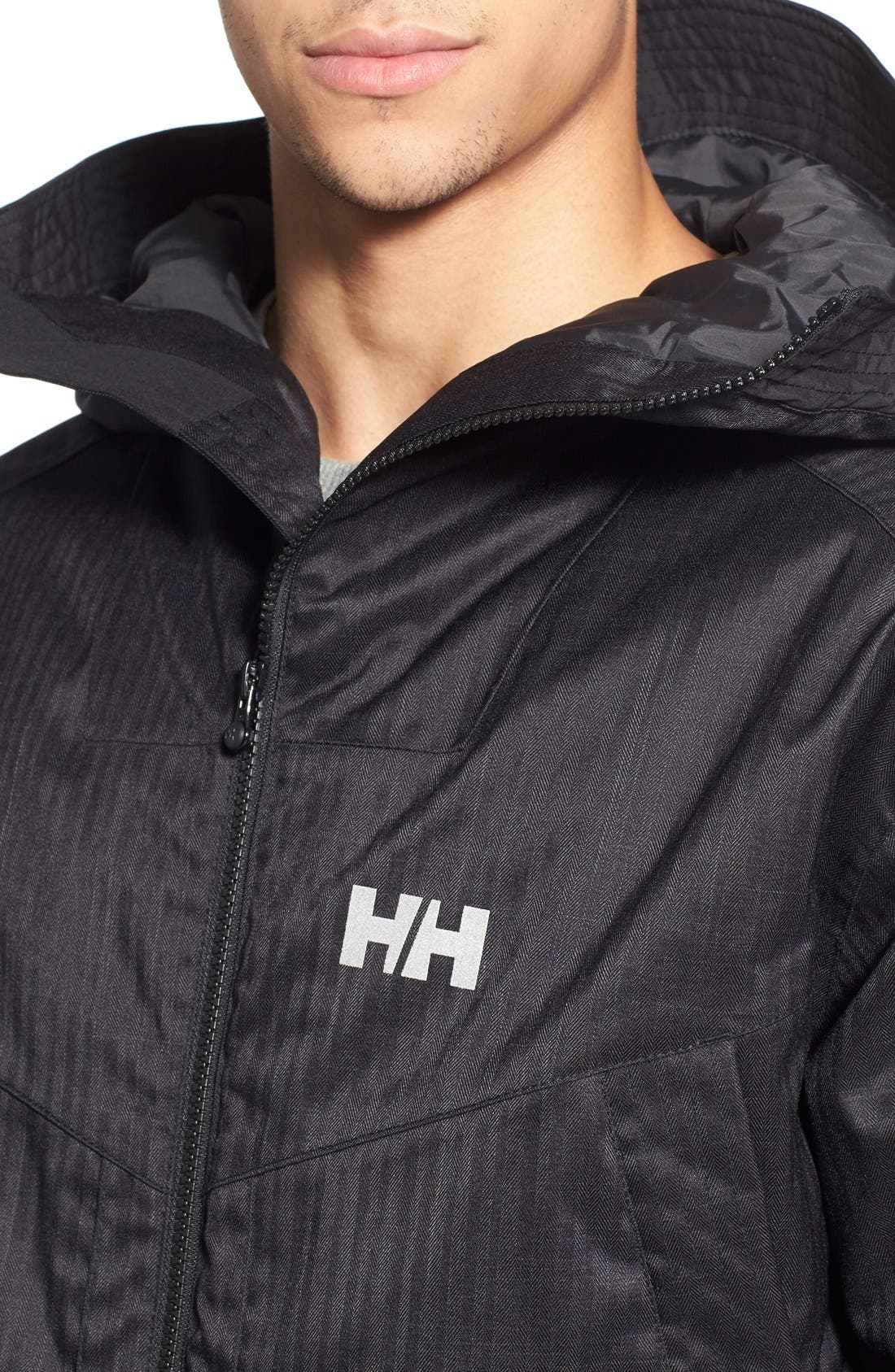 HELLY HANSEN,                             'Denver' Relaxed Fit Herringbone Hooded Jacket,                             Alternate thumbnail 5, color,                             001