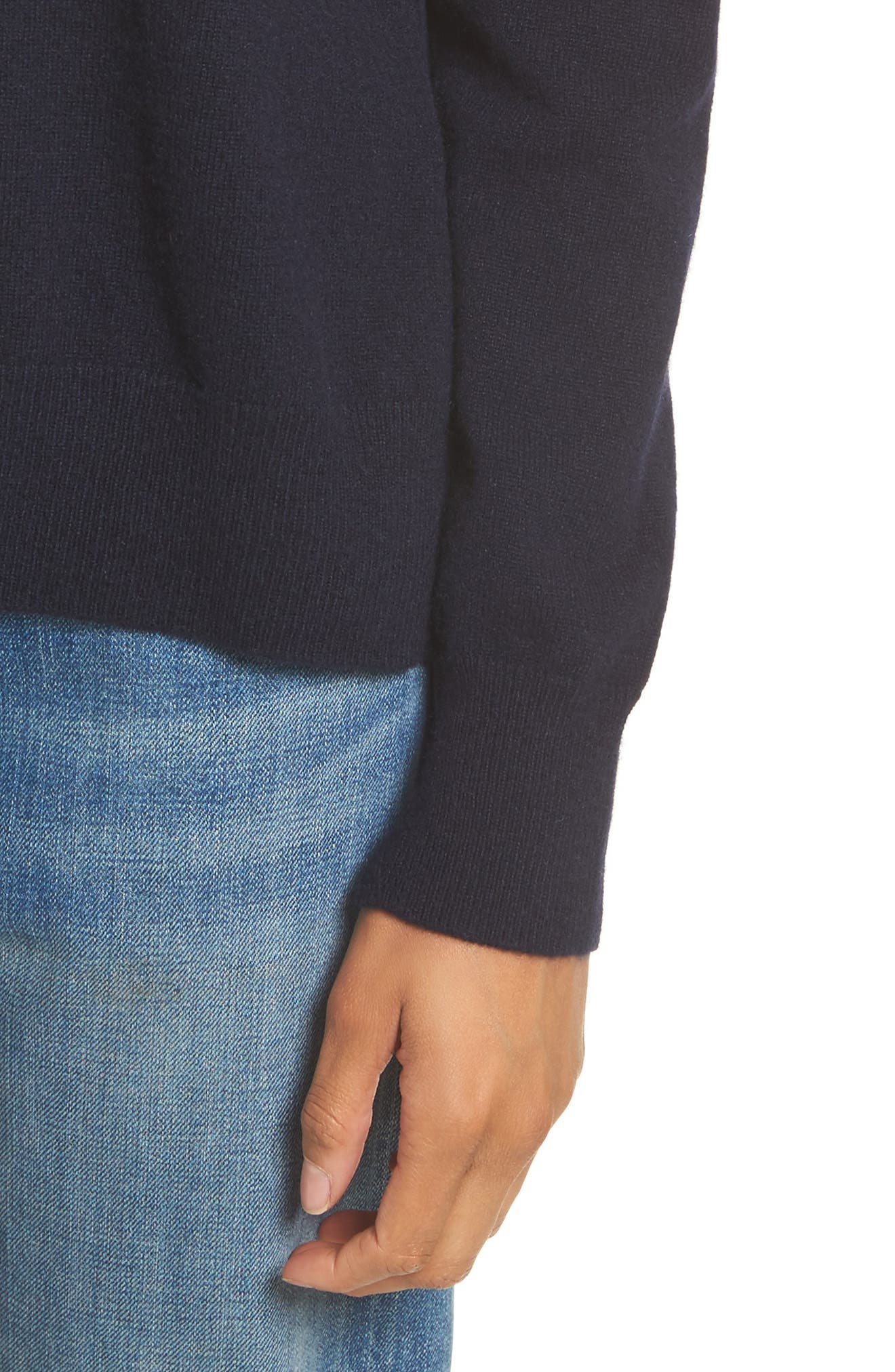 Cashmere Step Hem Sweater,                             Alternate thumbnail 4, color,                             403