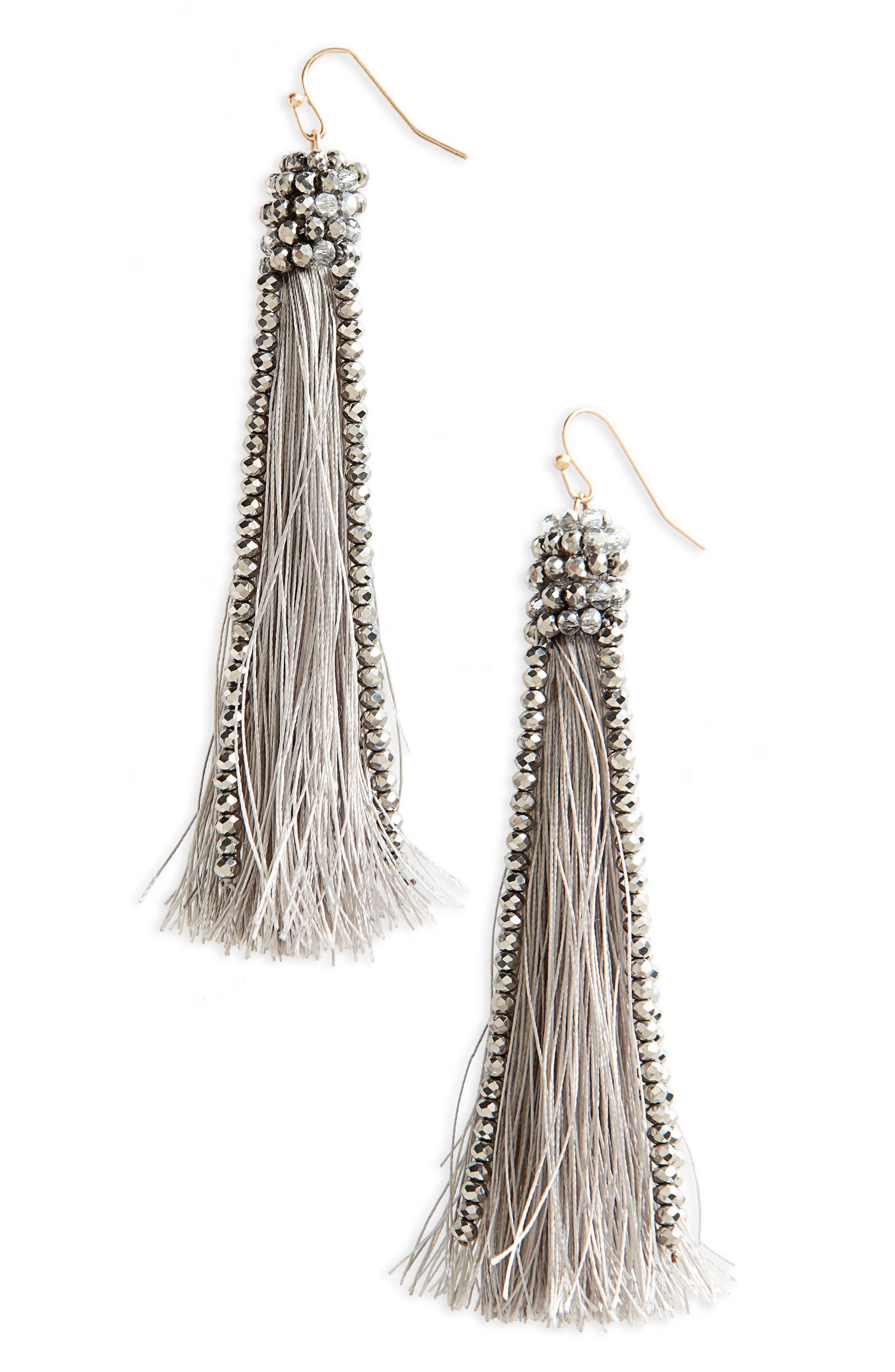 Beaded Tassel Earrings,                         Main,                         color, 040