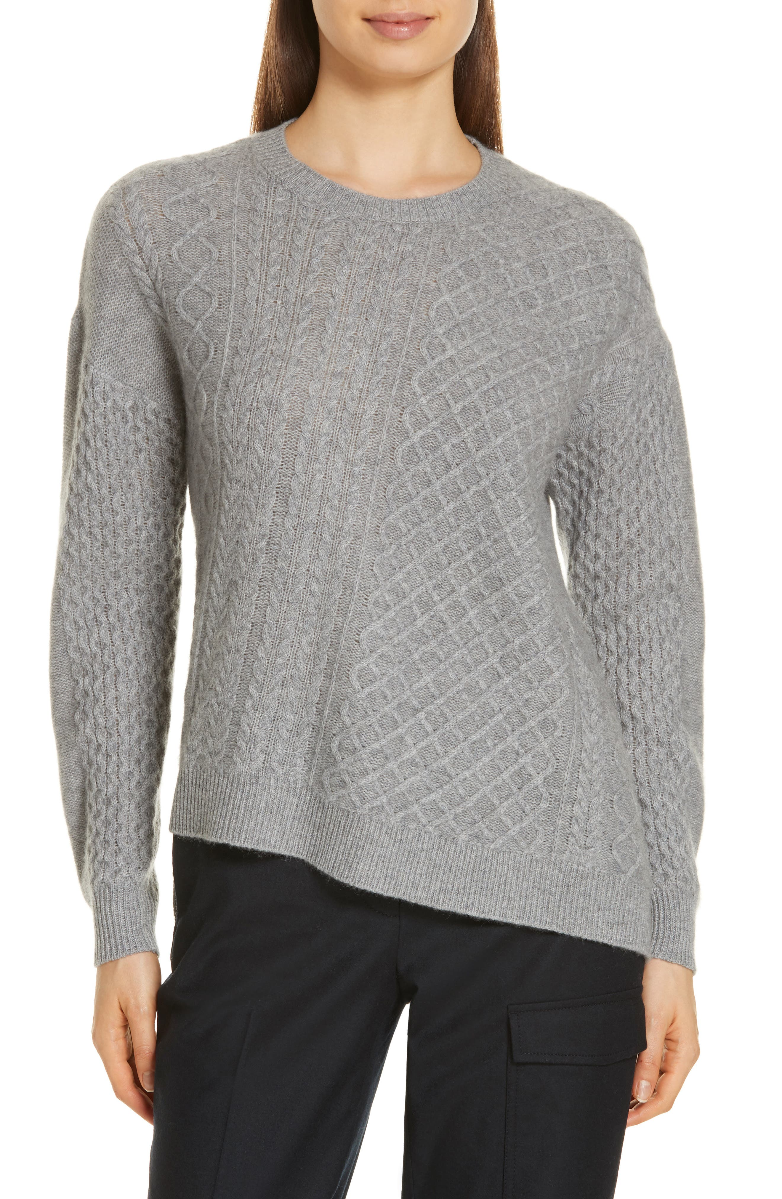 Cable Mix Asymmetrical Cashmere Sweater,                             Main thumbnail 1, color,                             GREY FILIGREE HR