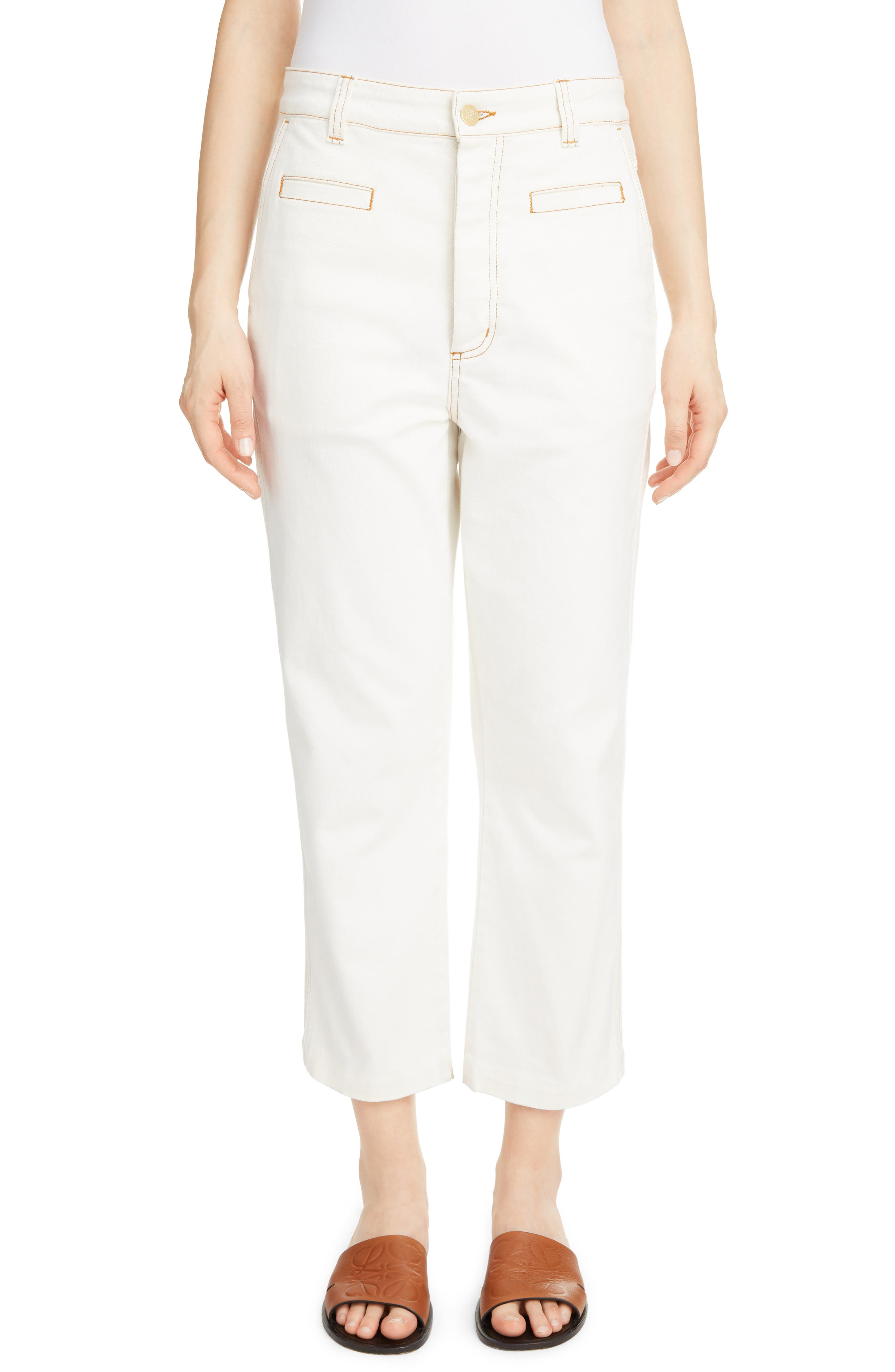 Contrast Stitch Fisherman Jeans, Main, color, WHITE