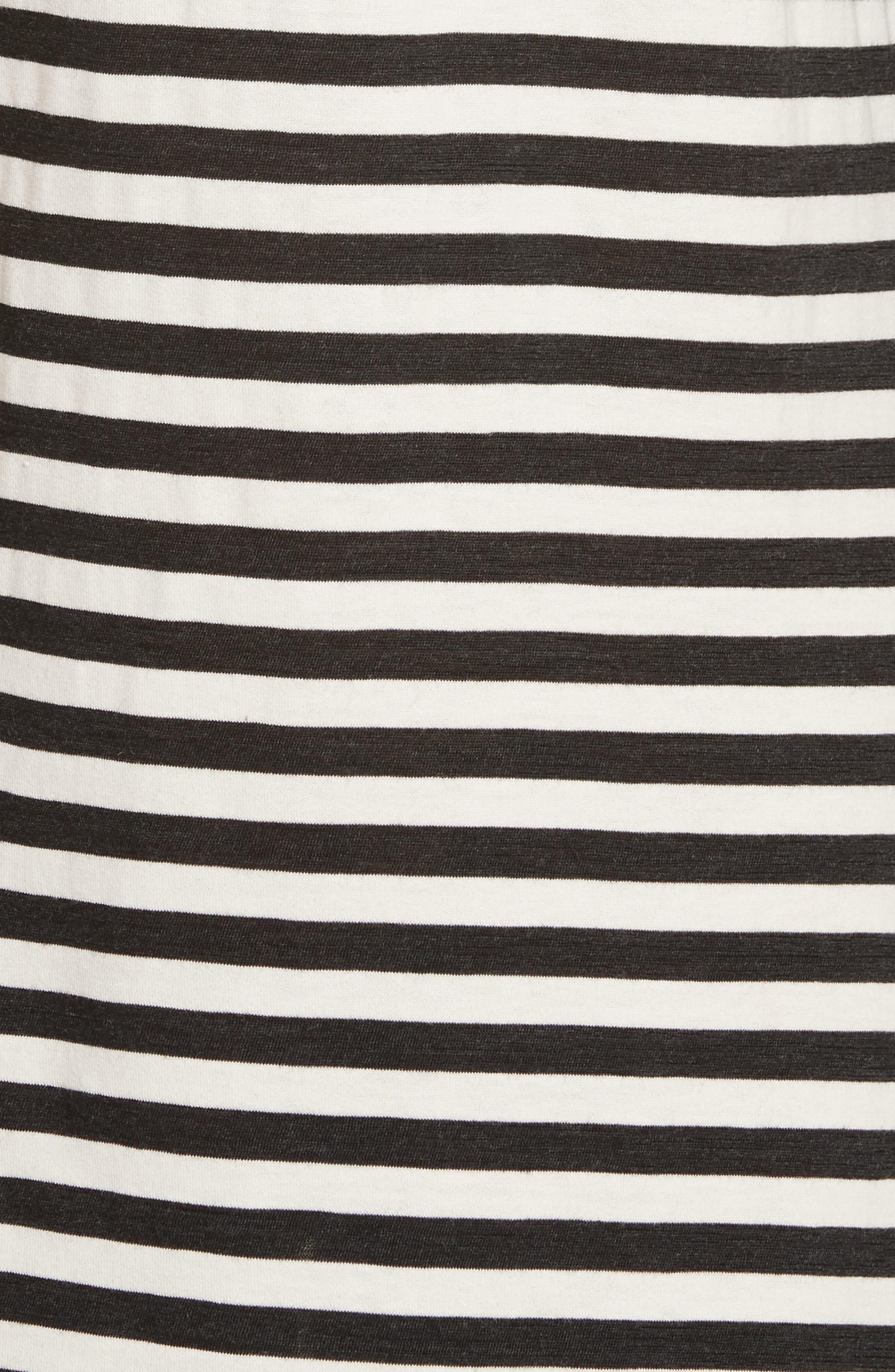 Stripe Jersey Cold Shoulder Dress,                             Alternate thumbnail 5, color,                             001