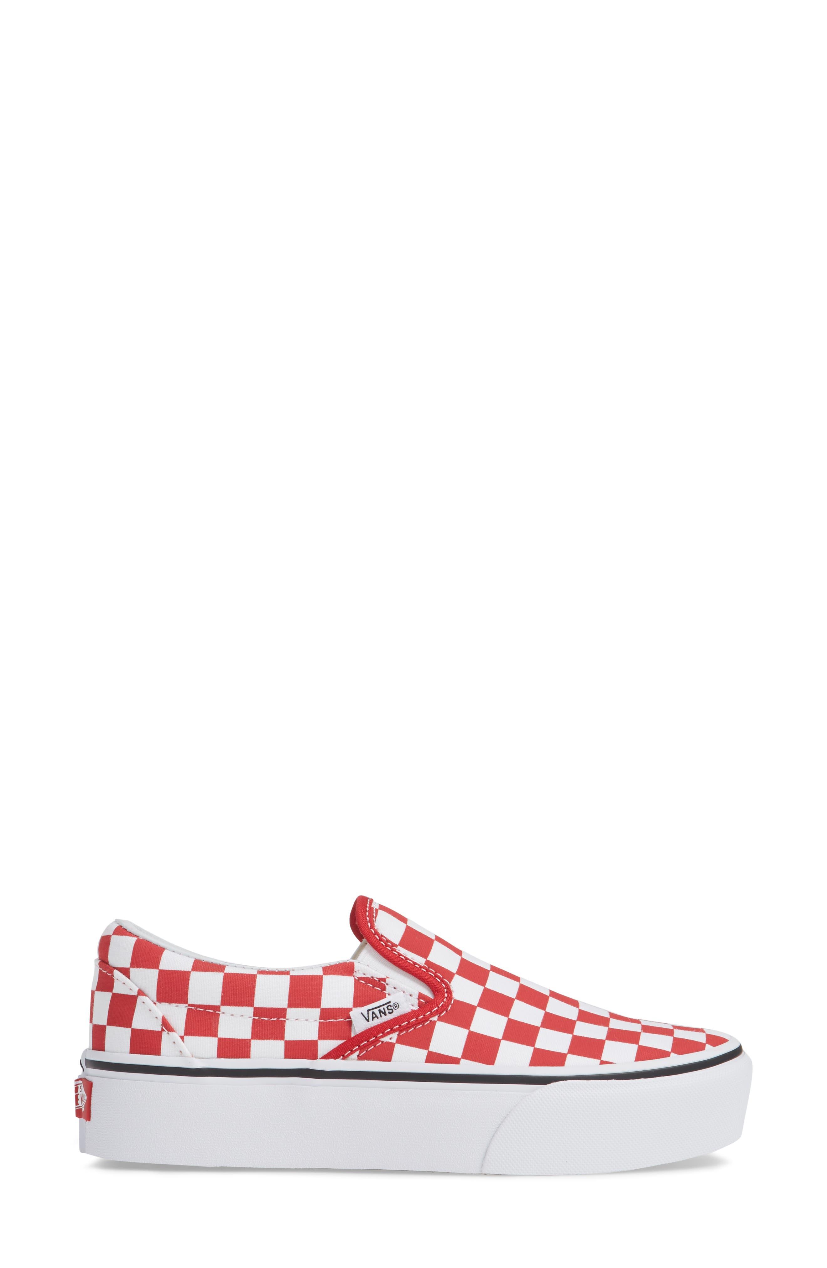 Platform Slip-On Sneaker,                             Alternate thumbnail 3, color,                             RACING RED/ TRUE WHITE