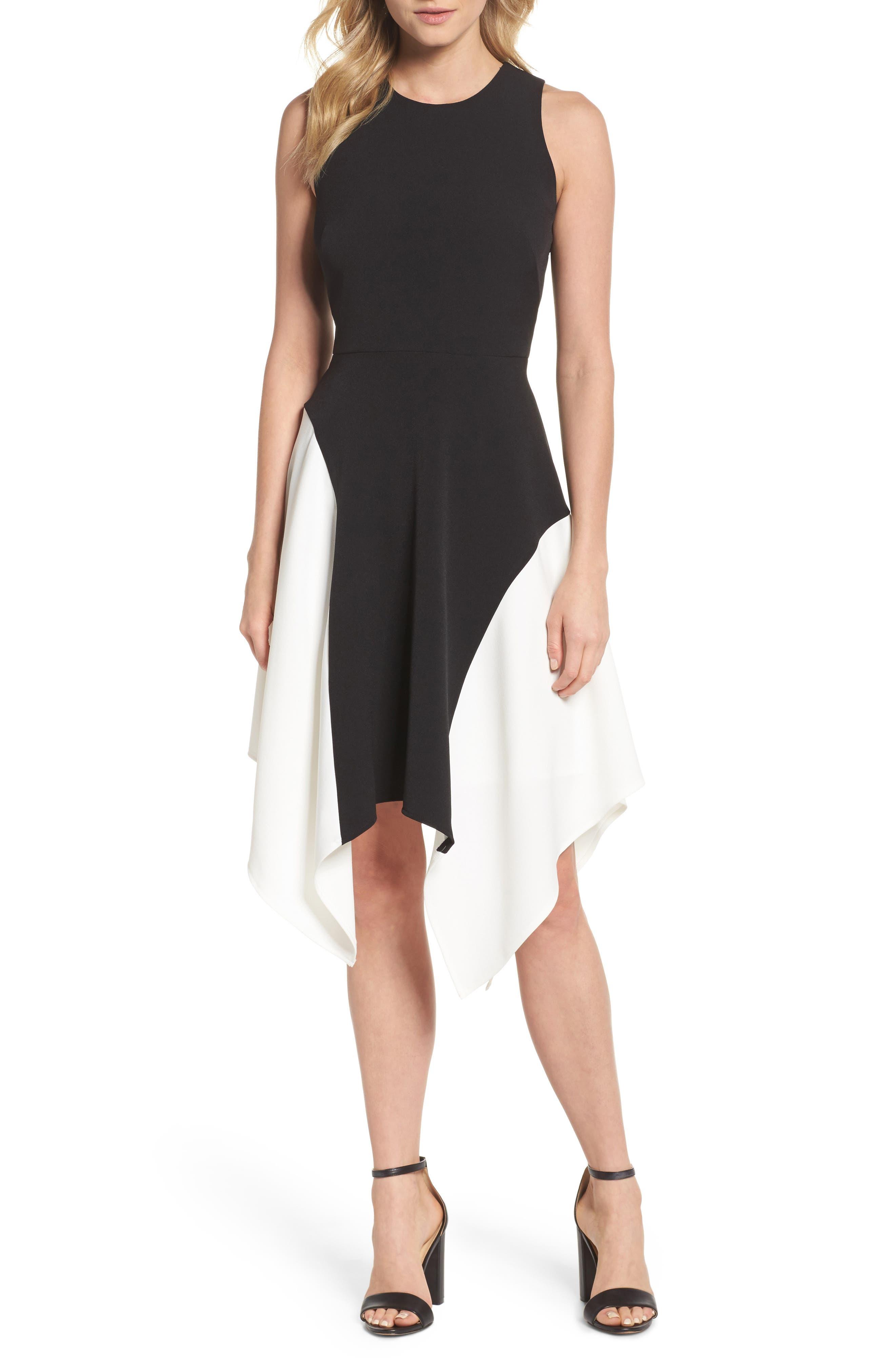Colorblock Crepe Midi Dress,                         Main,                         color, 012