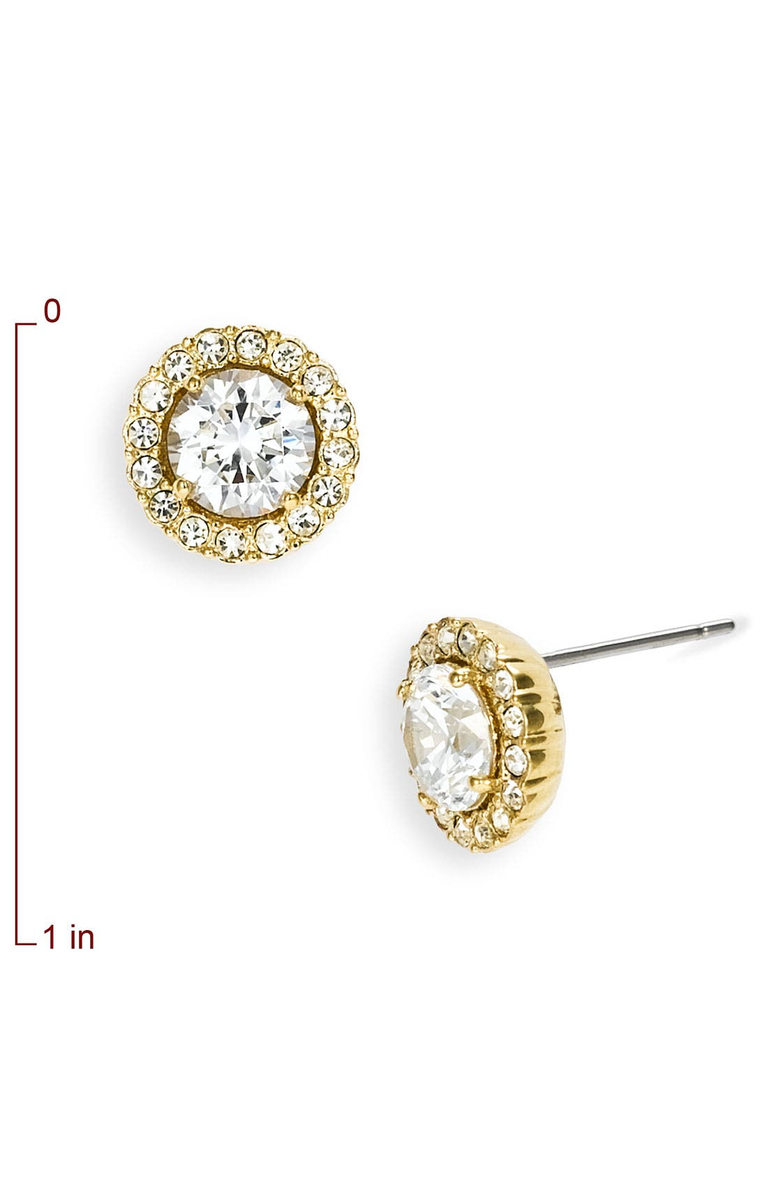 Round Cubic Zirconia Stud Earrings,                             Alternate thumbnail 3, color,                             GOLD/ CLEAR CRYSTAL