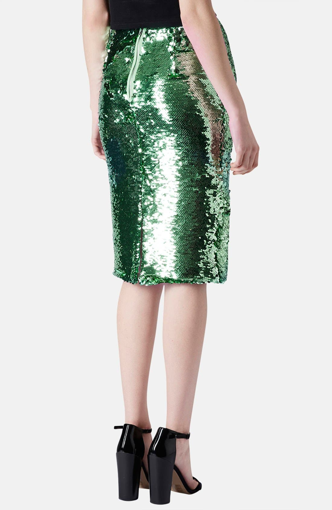 Sequin Pencil Skirt,                             Alternate thumbnail 3, color,                             330