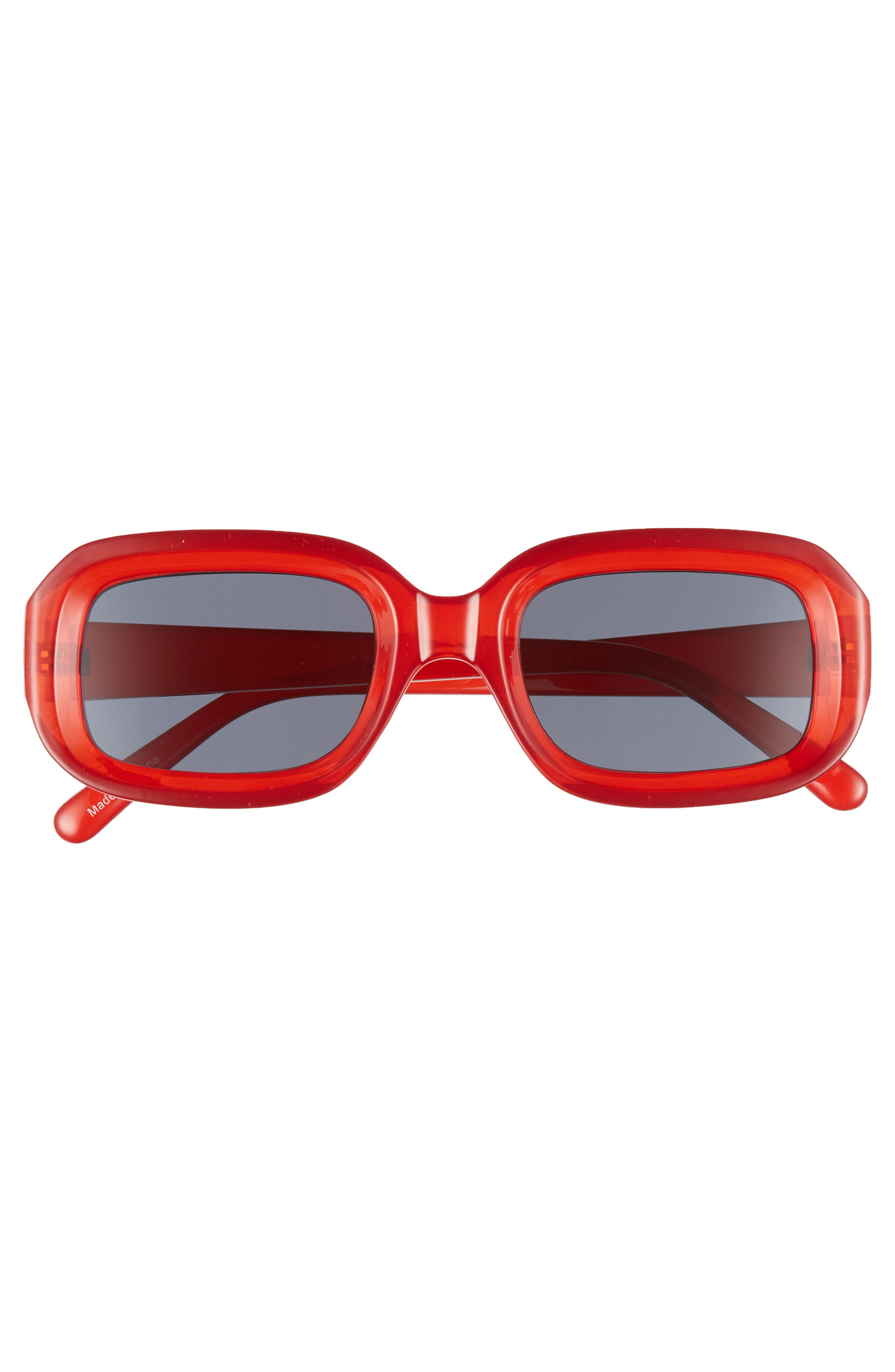 66mm Inset Square Sunglasses,                             Alternate thumbnail 3, color,                             RED/ BLACK
