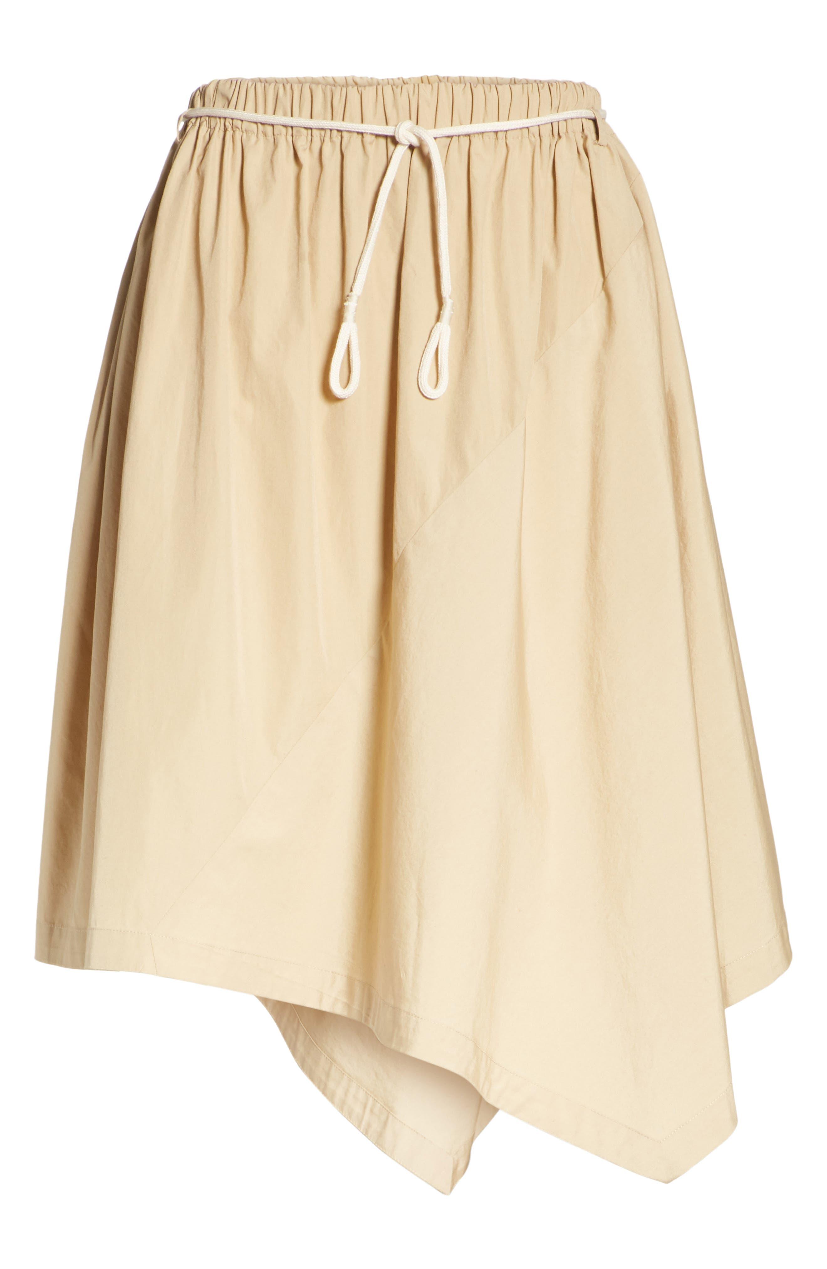 Asymmetrical Drawstring Cotton Skirt,                             Alternate thumbnail 6, color,                             KHAKI