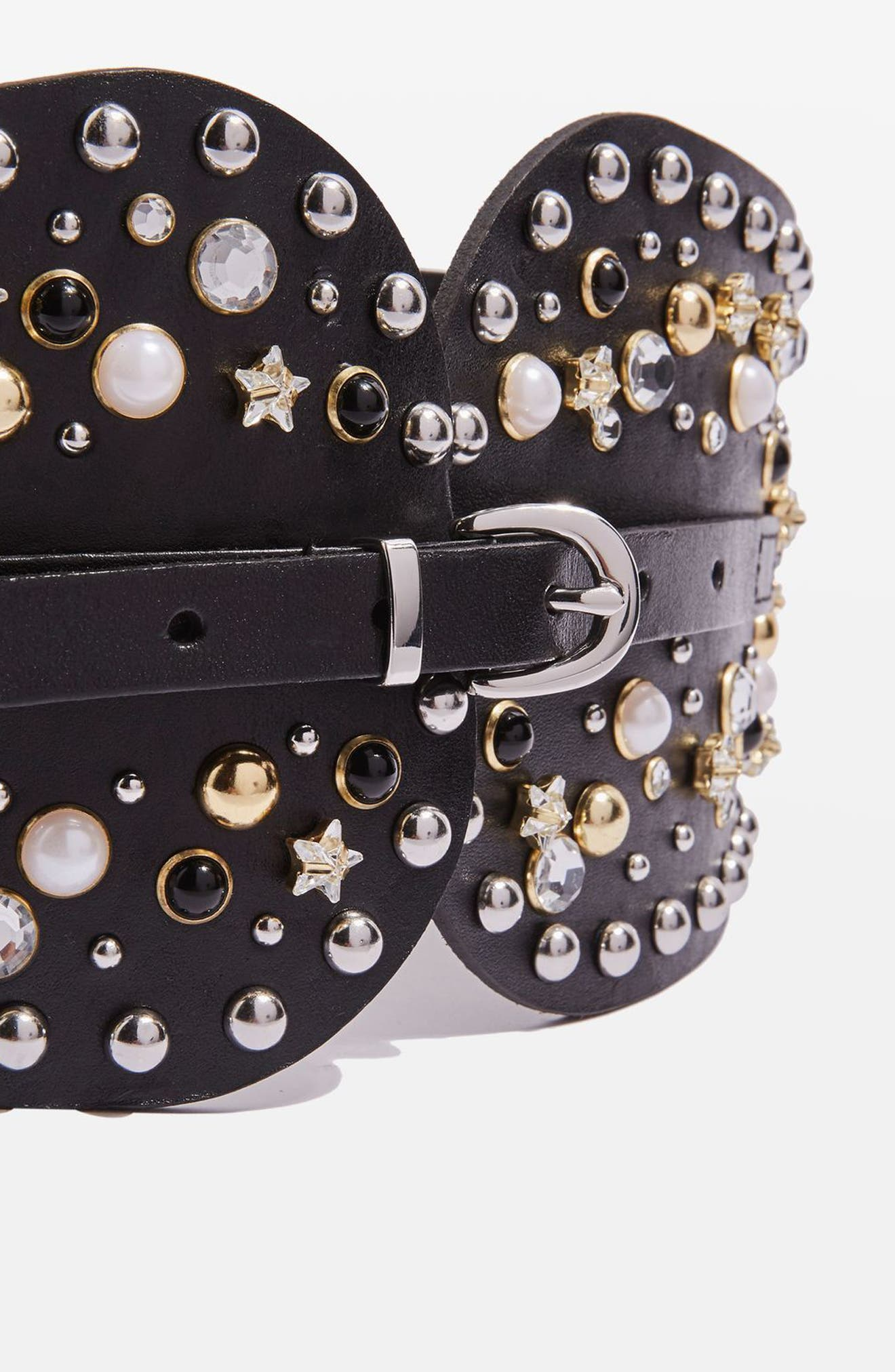 Studded Leather Corset Belt,                             Alternate thumbnail 3, color,                             001