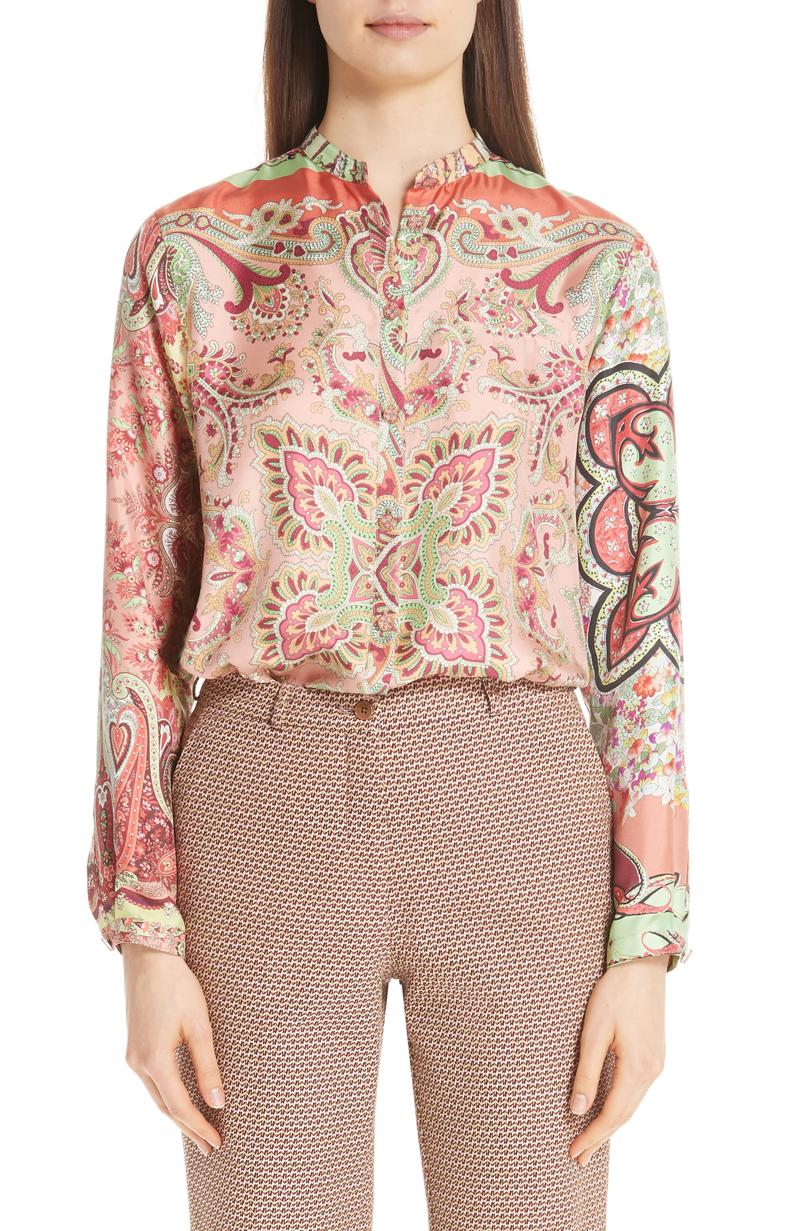 Paisley Print Silk Blouse, Main, color, RED