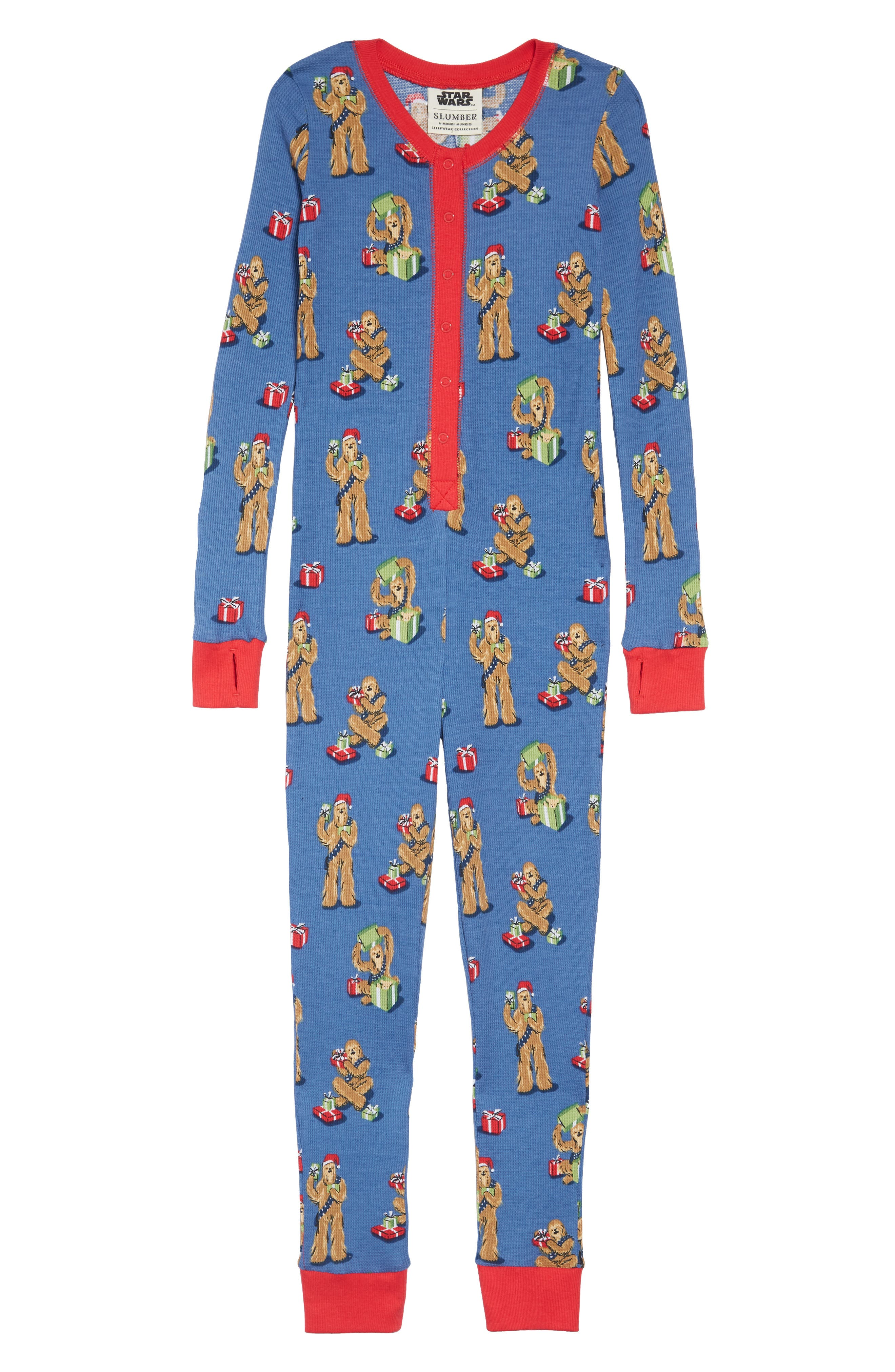 x Star Wars<sup>™</sup> Christmas Chewbacca Fitted One-Piece Pajamas,                             Main thumbnail 1, color,                             409