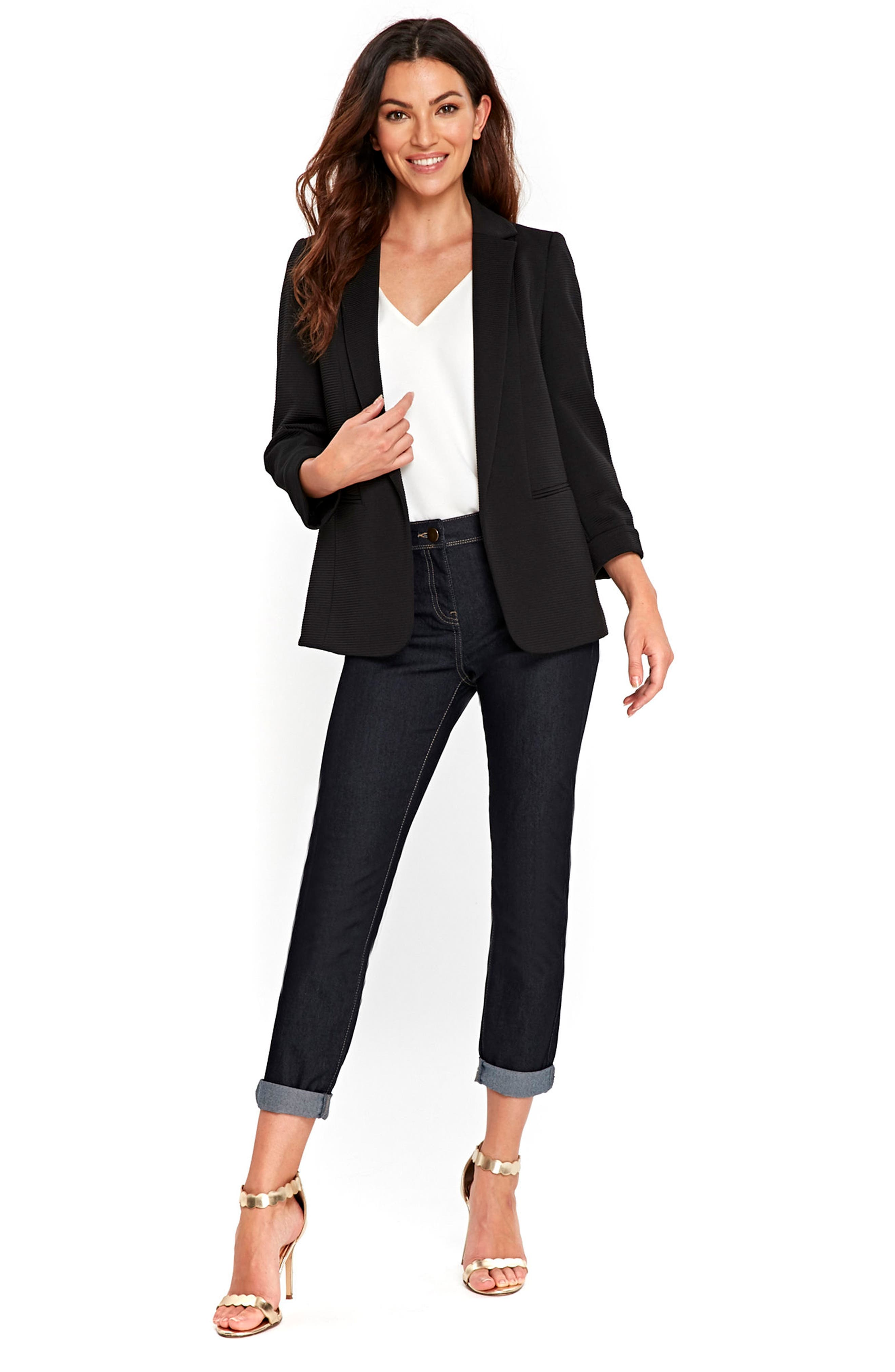 Ribbed Ponte Jacket,                             Alternate thumbnail 5, color,                             001