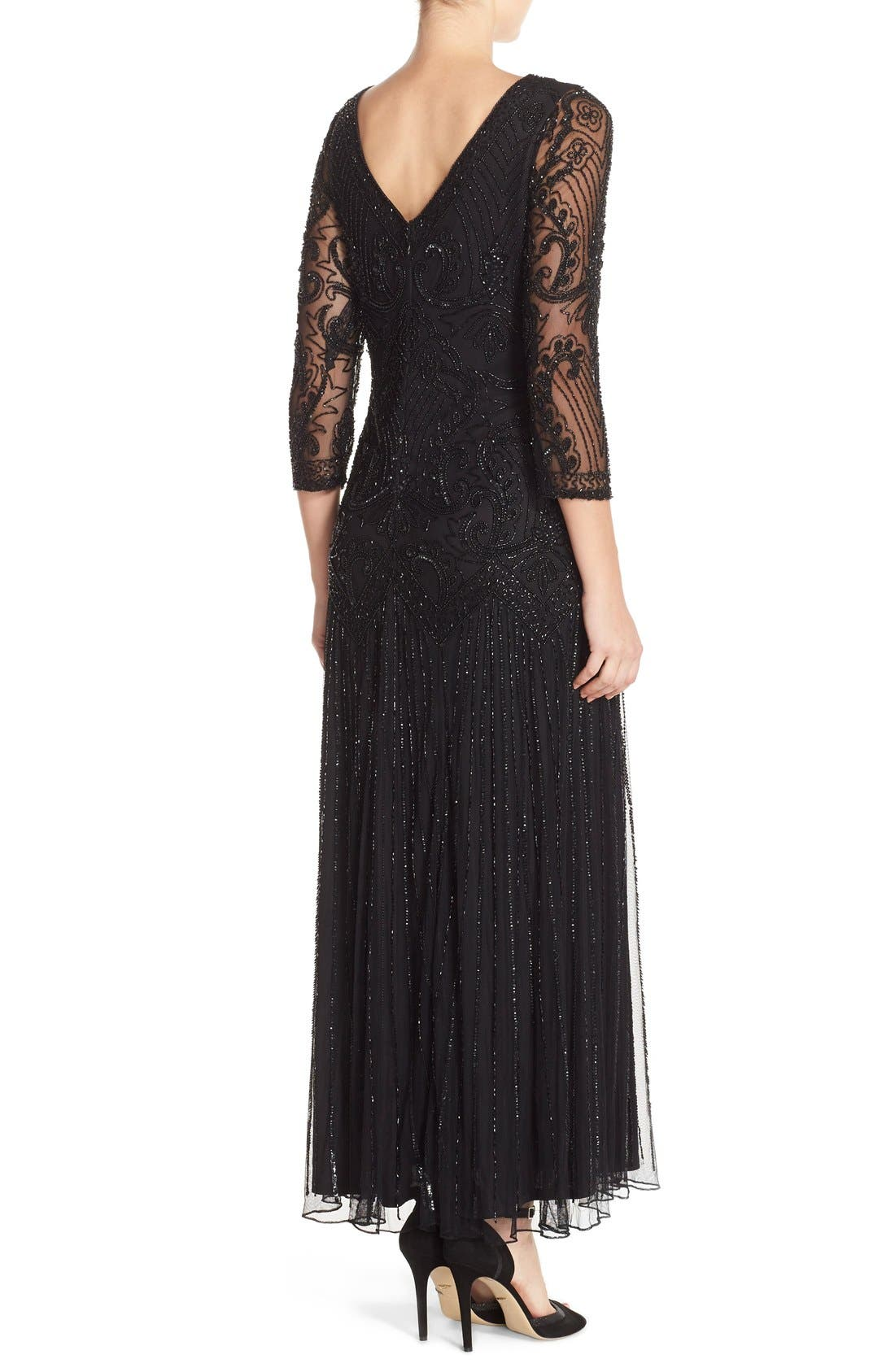 Embellished Mesh Gown,                             Alternate thumbnail 3, color,                             001