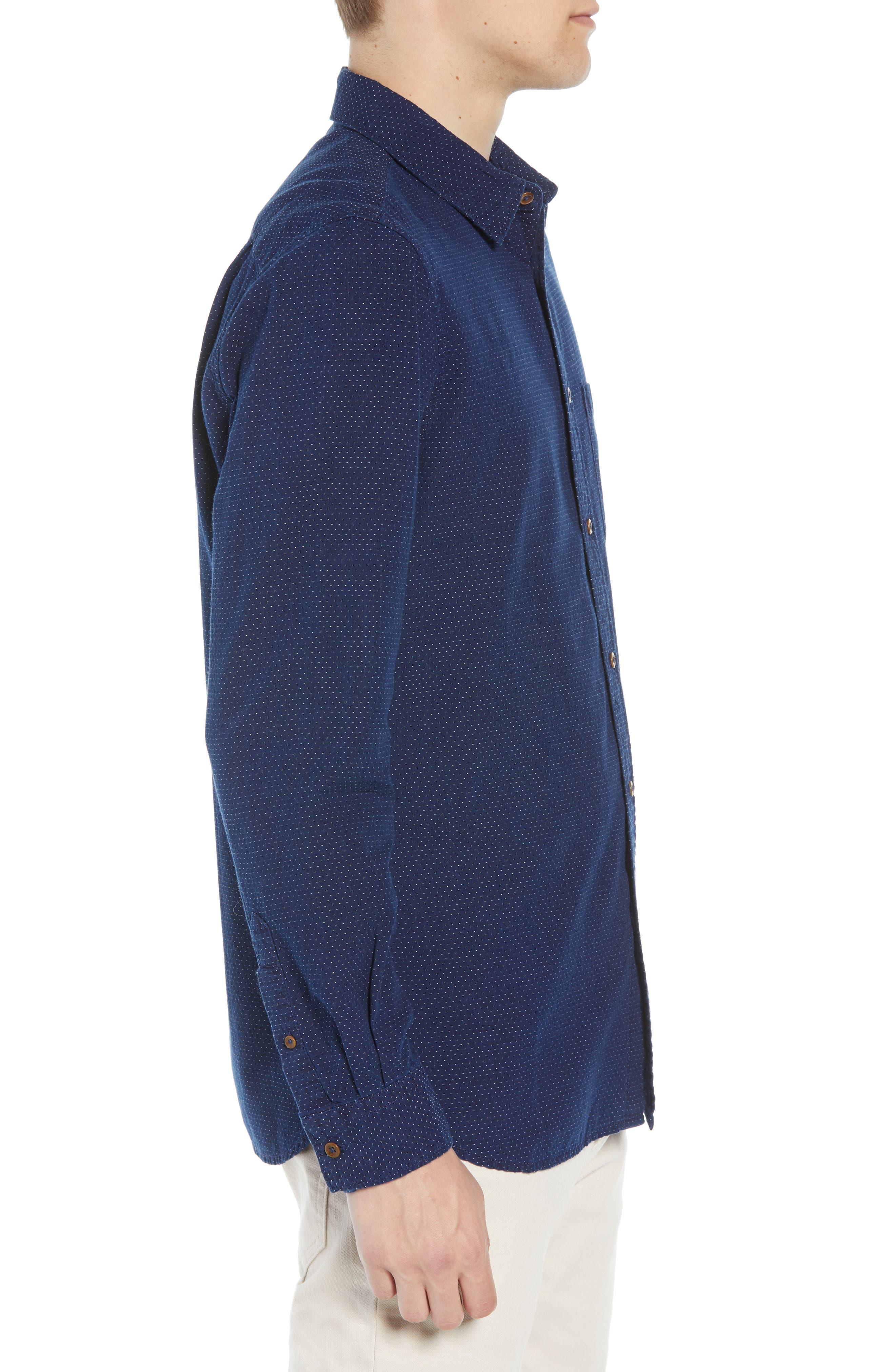 Indigo Dot Regular Fit Sport Shirt,                             Alternate thumbnail 4, color,                             VINTAGE