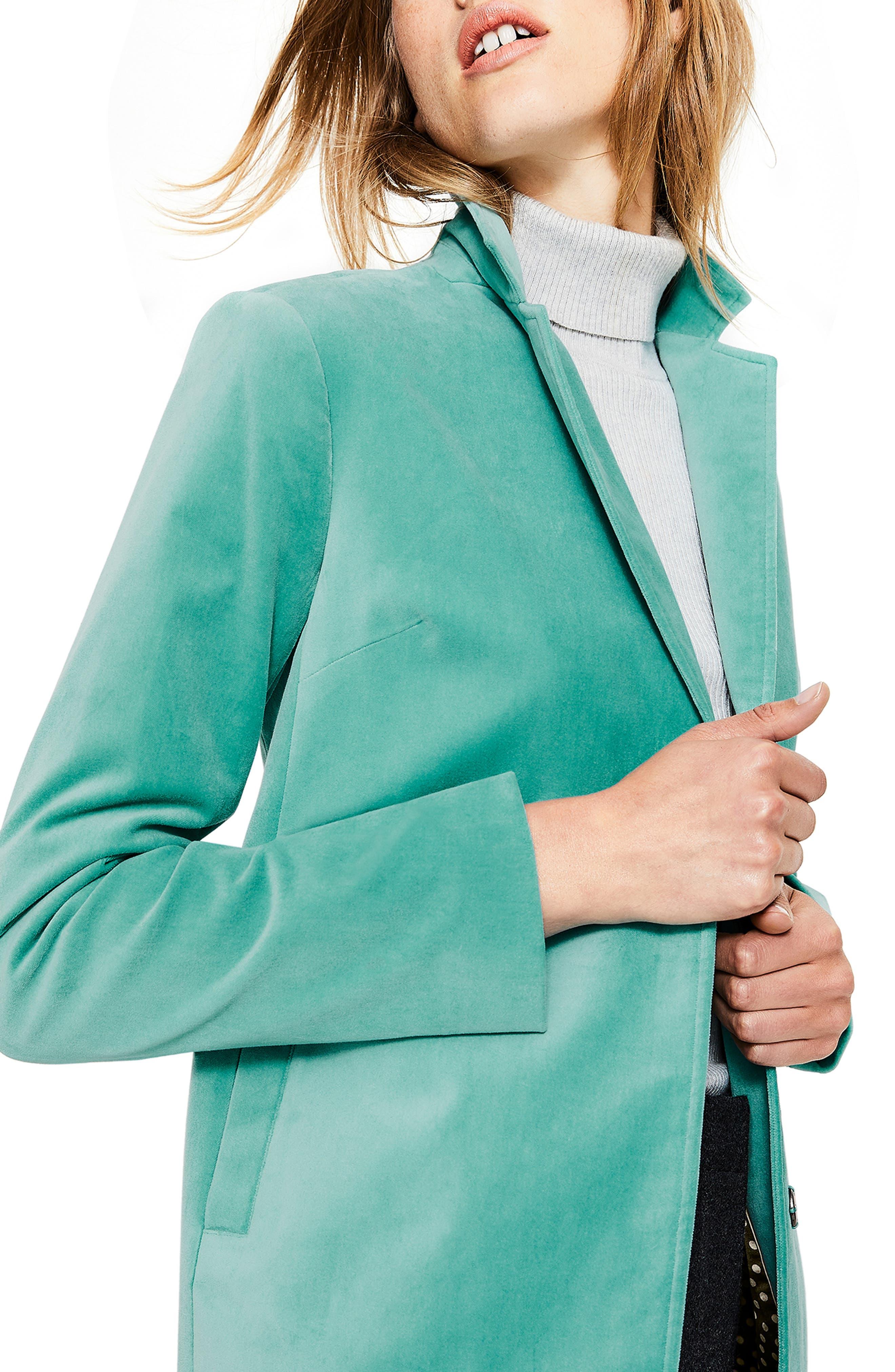 Sally Long Velvet Jacket,                             Alternate thumbnail 5, color,                             BREEZE BN764