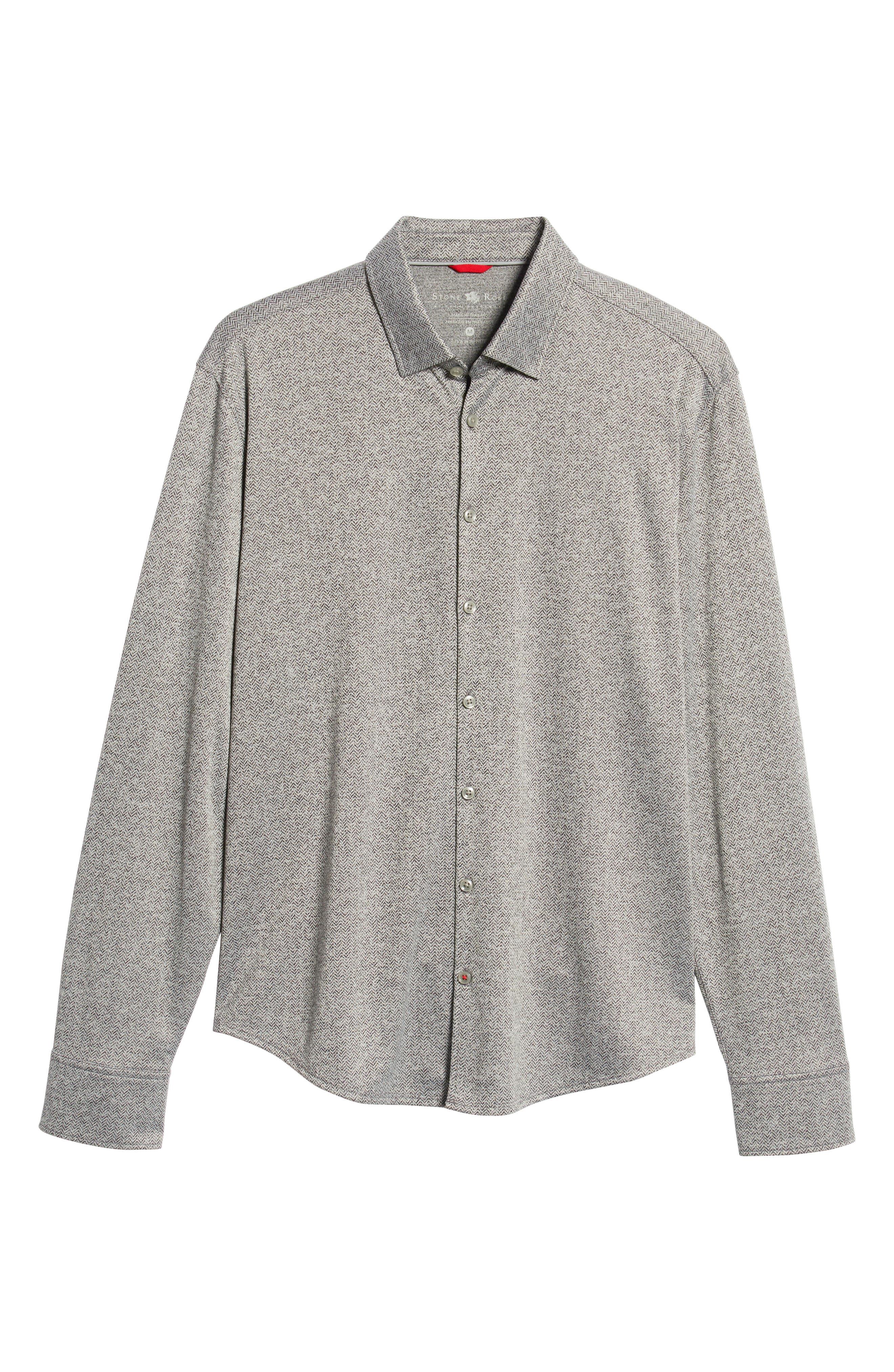 Trim Fit Knit Sport Shirt,                             Alternate thumbnail 5, color,                             BLACK