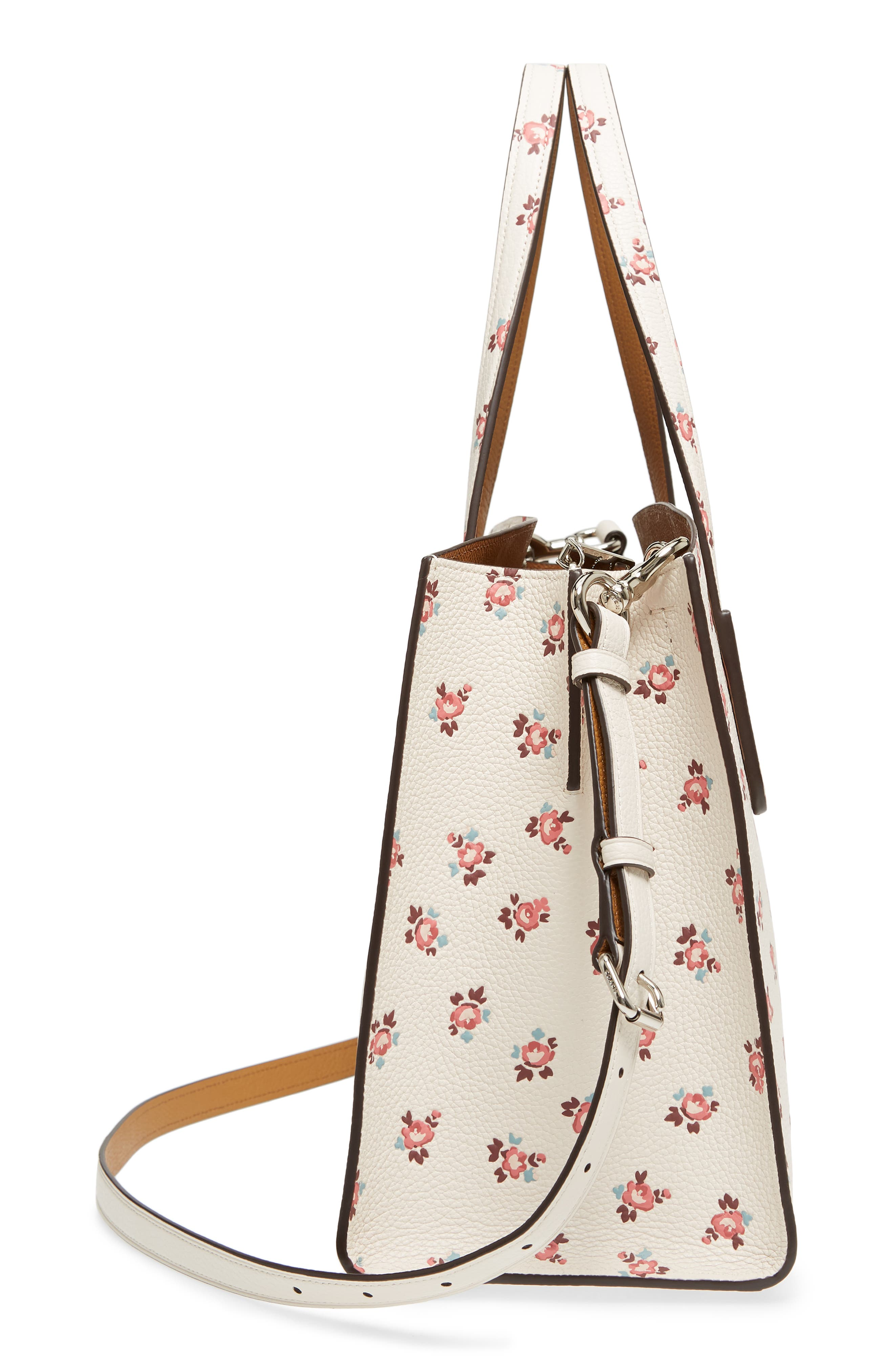 Charlie Floral Embossed Leather Tote,                             Alternate thumbnail 5, color,                             900