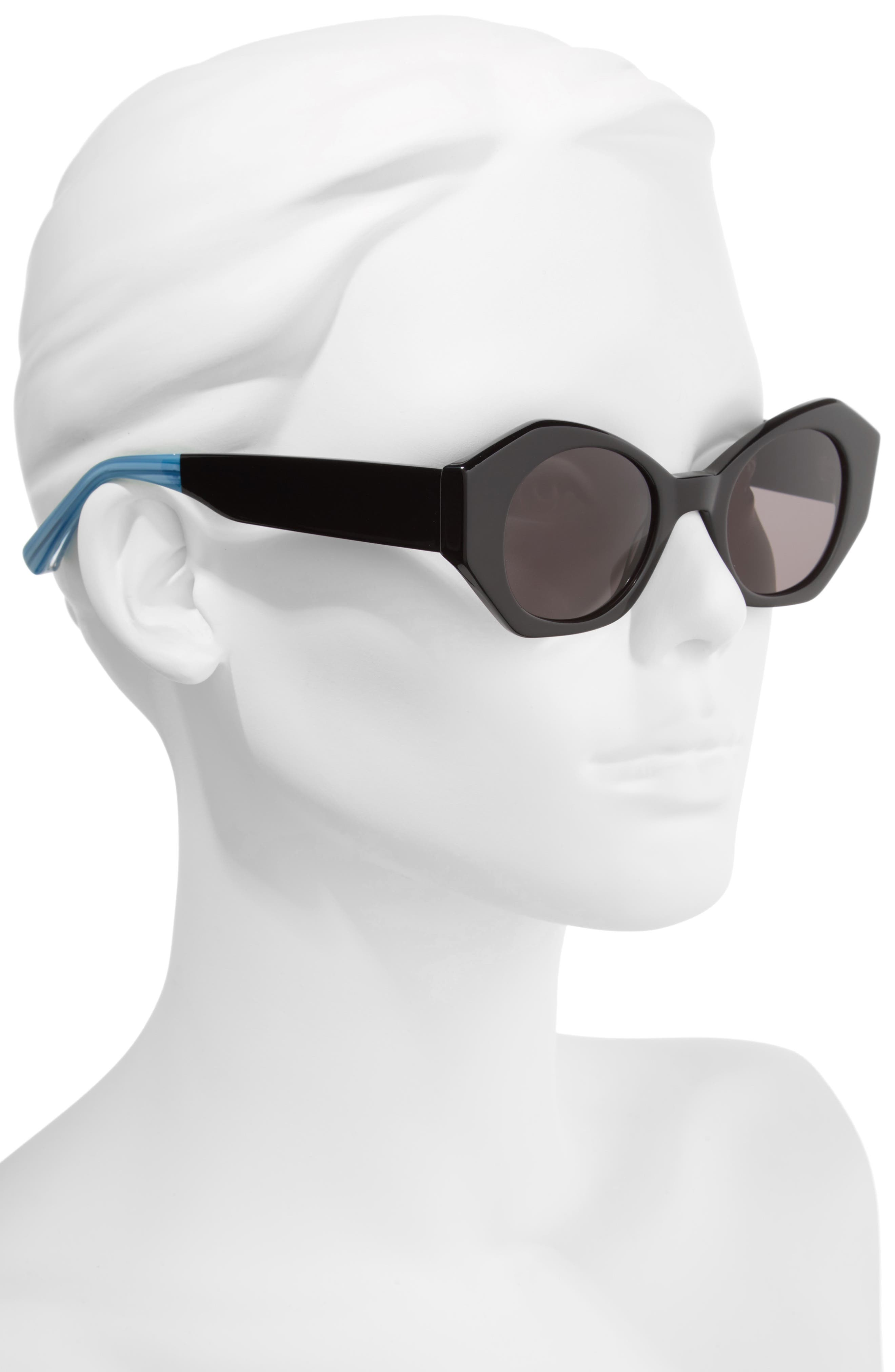 Huxley 46mm Geometric Sunglasses,                             Alternate thumbnail 3, color,