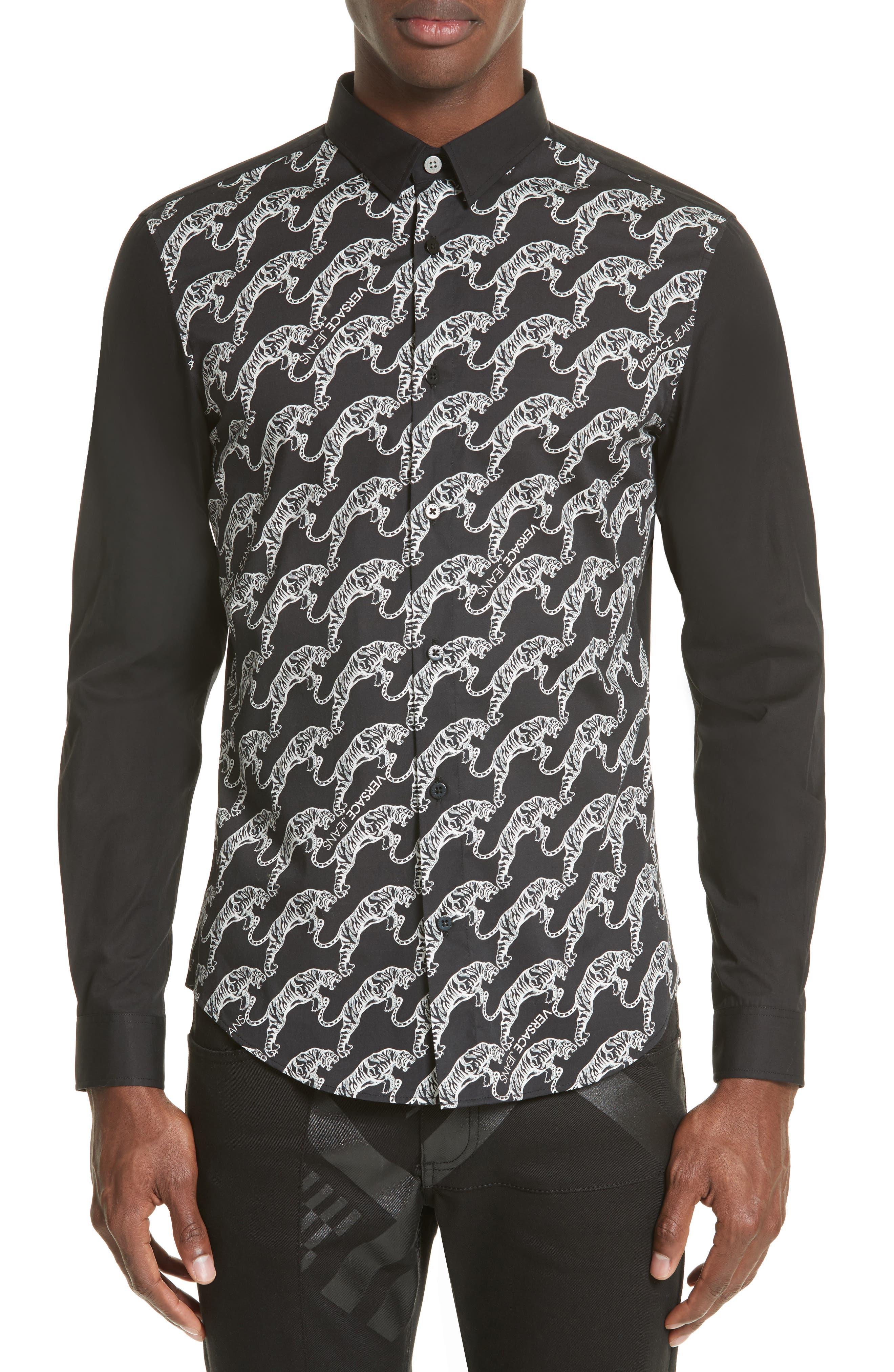 Tiger Print Sport Shirt,                         Main,                         color, 001