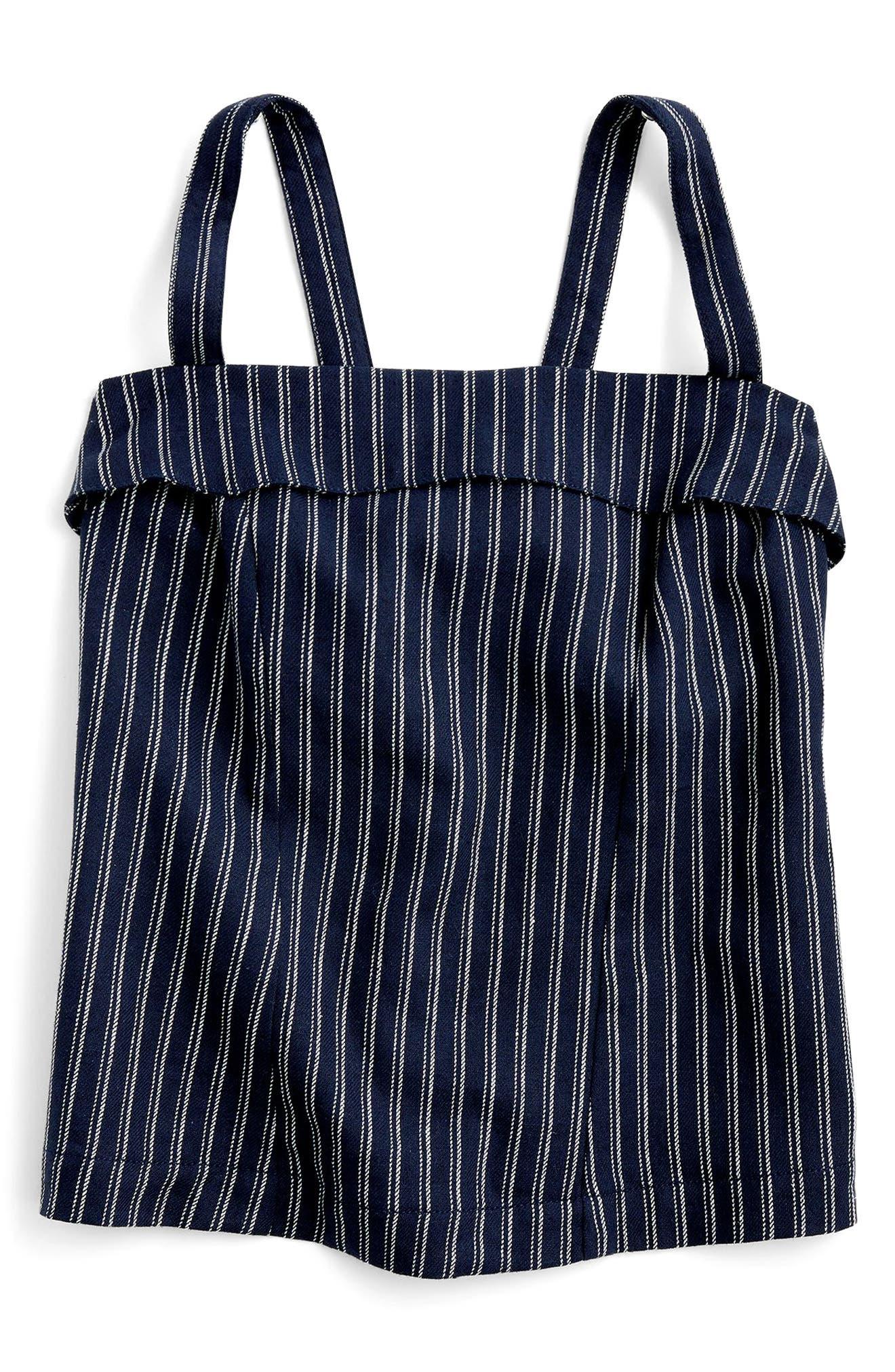 J.CREW,                             Turnover Stripe Linen & Cotton Top,                             Alternate thumbnail 2, color,                             400
