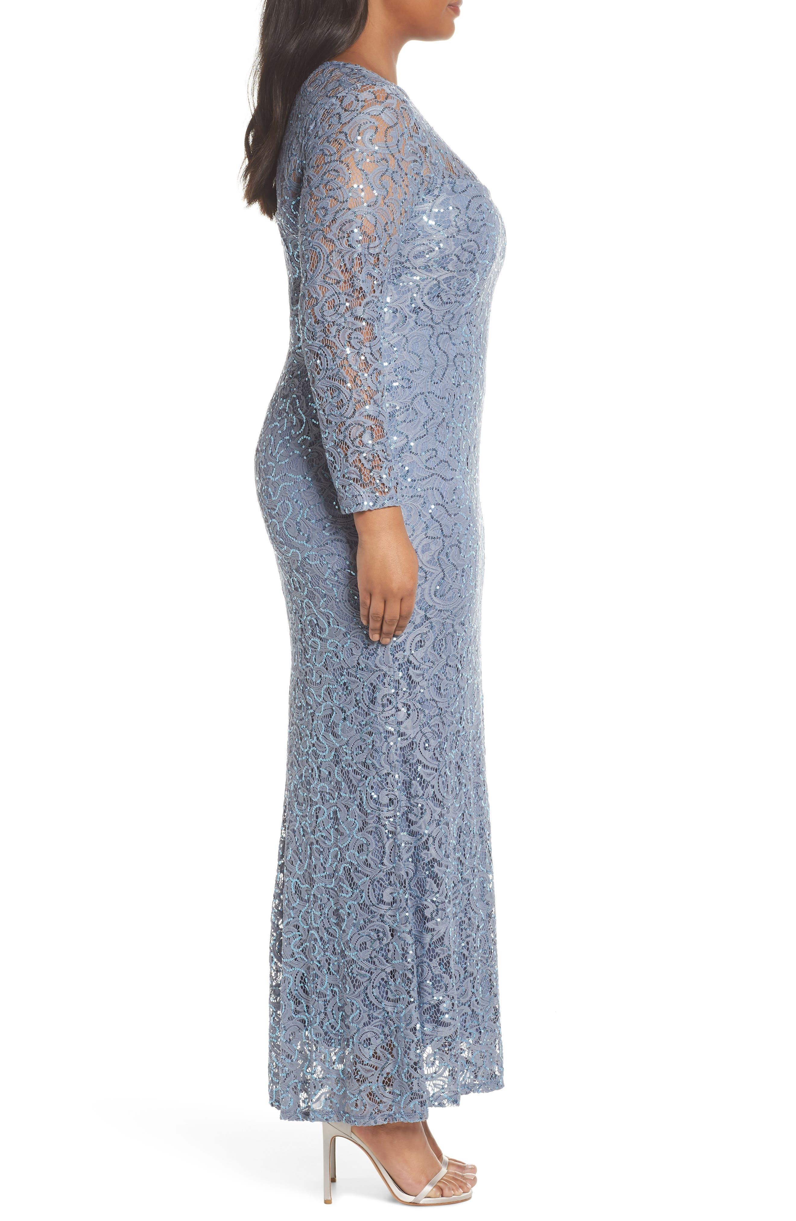 Illusion Yoke & Long Sleeve Lace Gown,                             Alternate thumbnail 3, color,                             400