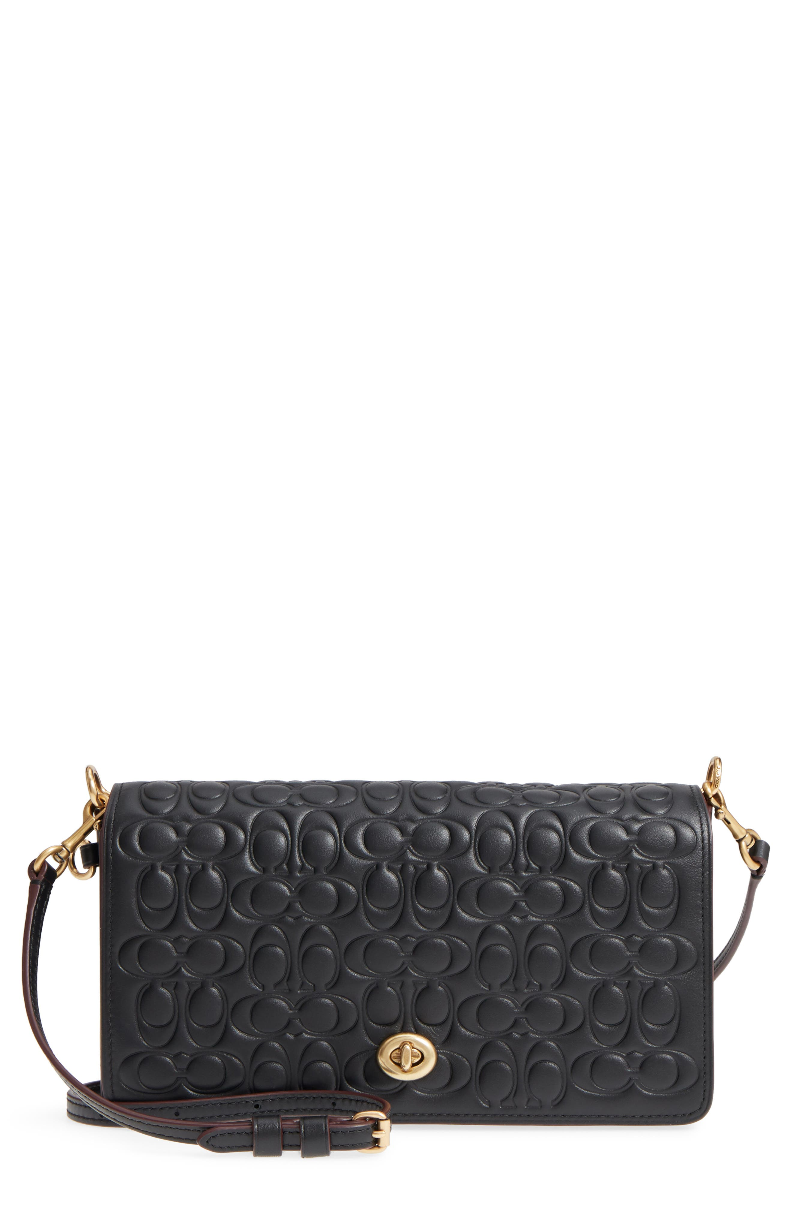 Logo Embossed Dinky Leather Crossbody Clutch,                             Main thumbnail 1, color,                             BLACK